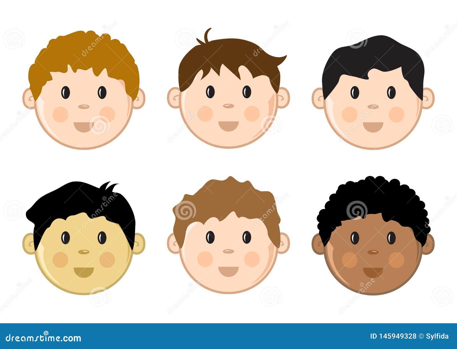 De gekleurde geplaatste gezichten van kinderen Vector illustratie