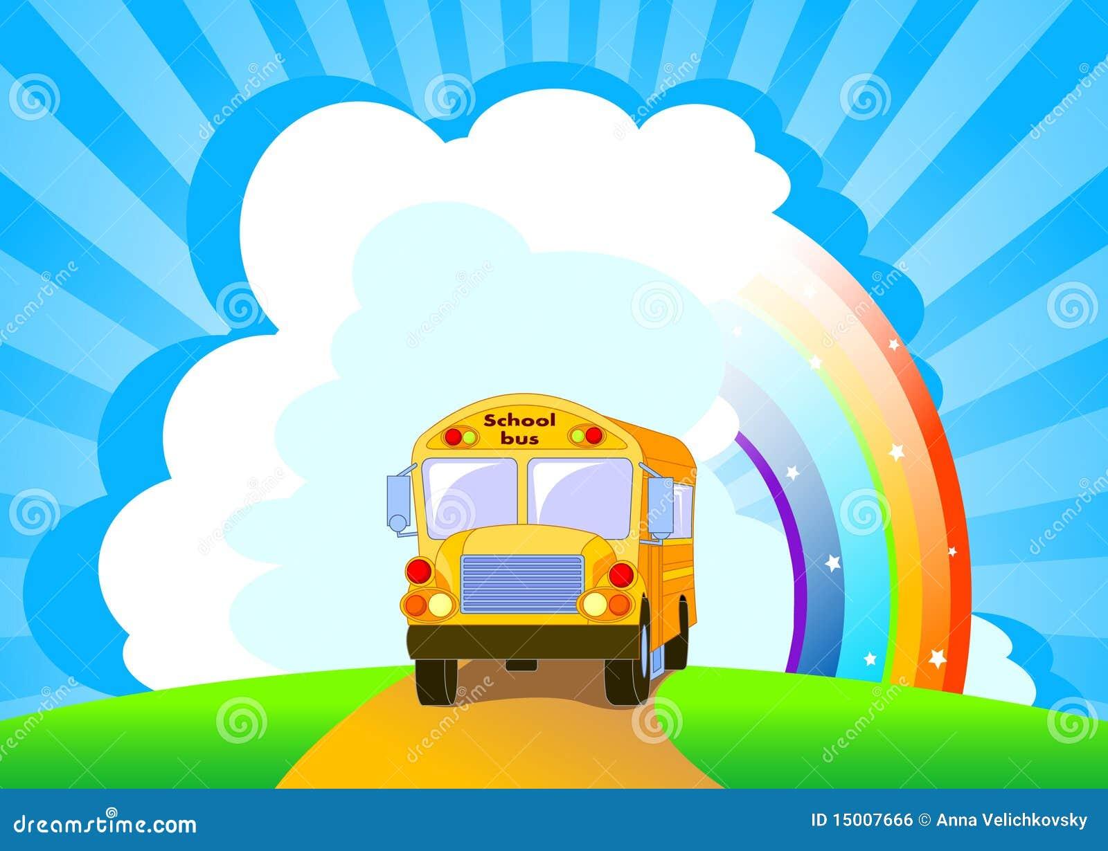 De gele achtergrond van de Bus van de School