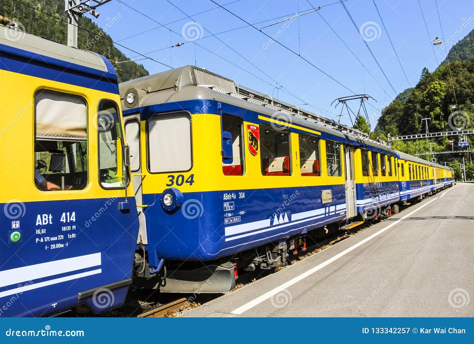 De gele en blauwe einden van de de Spoorwegtrein van Bernese Oberland bij Grindelwald-stationplatform