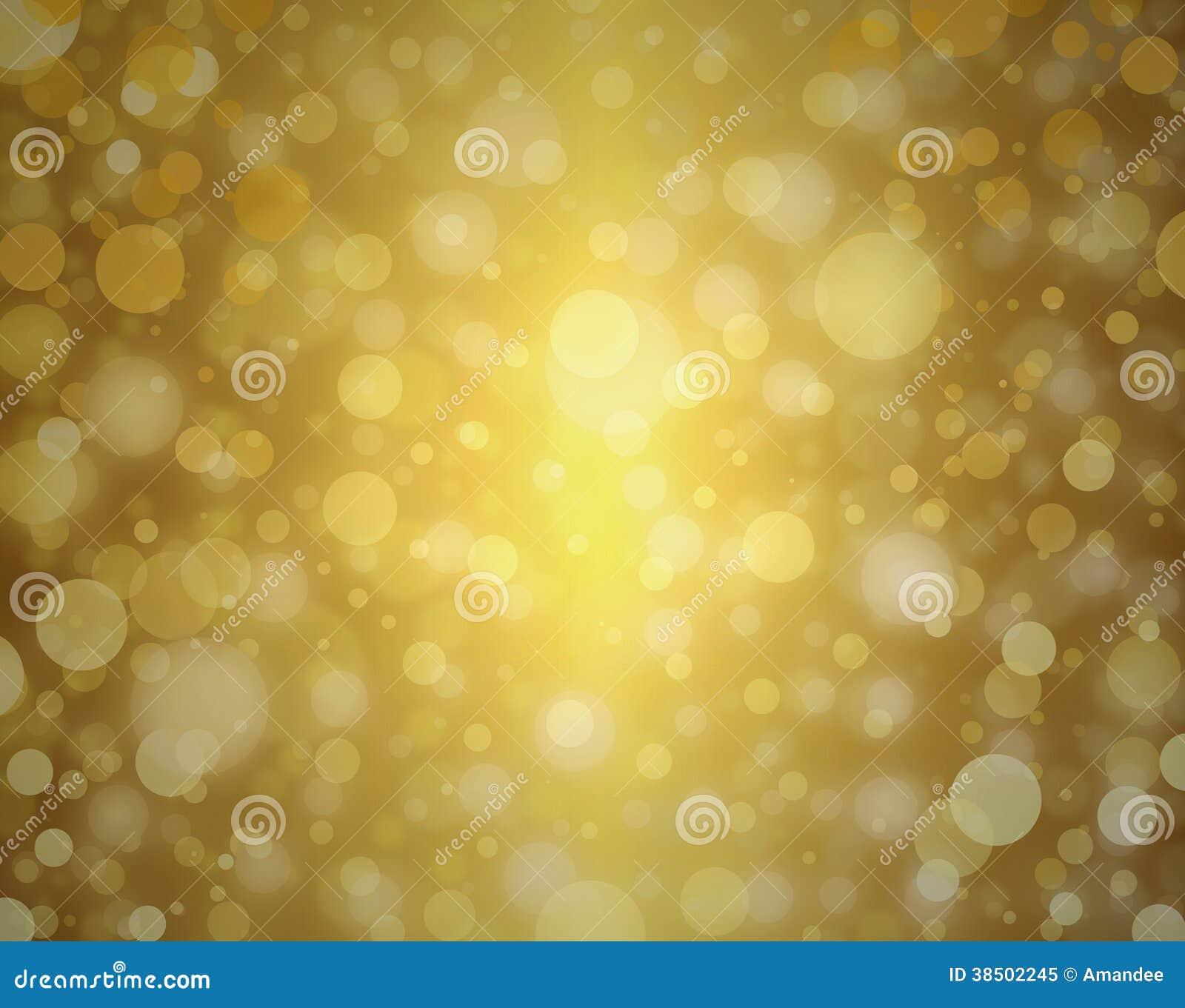 De gele gouden bellen achtergrond witte Kerstmislichten vertroebelden ontwerp van de achtergronddecor het elegante viering