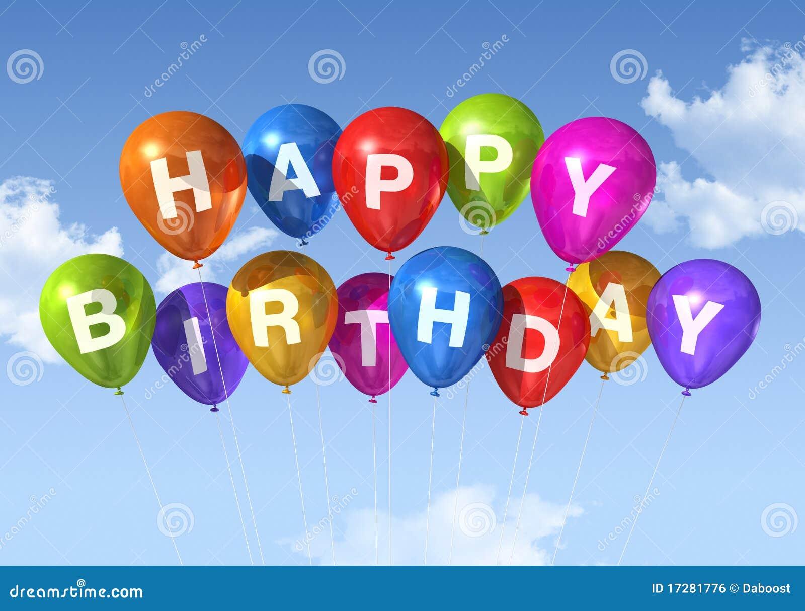 Je Verjaardag In De Hemel.De Gelukkige Ballons Van De Verjaardag In De Hemel Stock