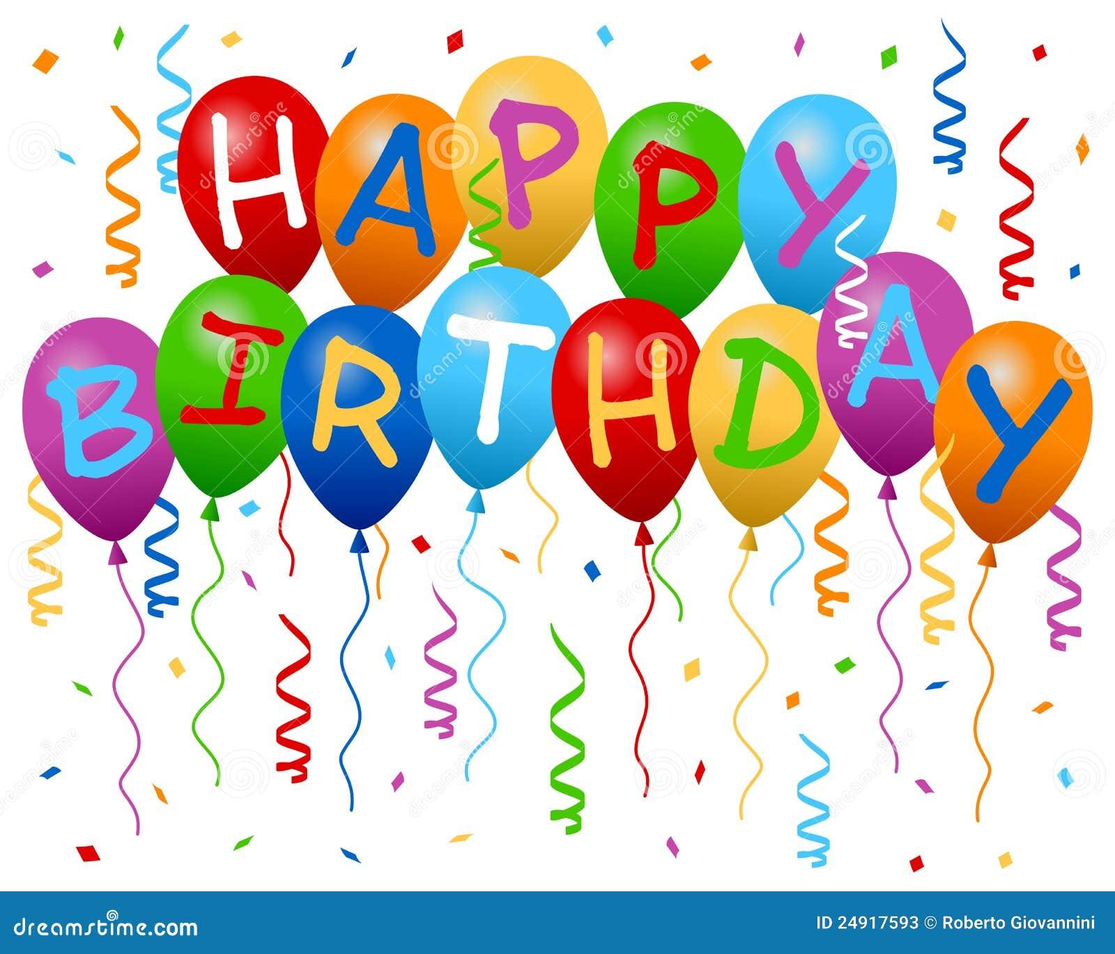 De Gelukkige Banner Van De Ballons Van De Verjaardag