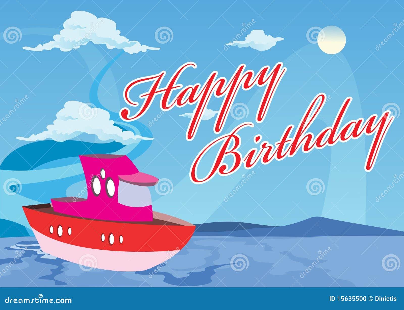 De Gelukkige Boot Van De Verjaardag Vector Illustratie