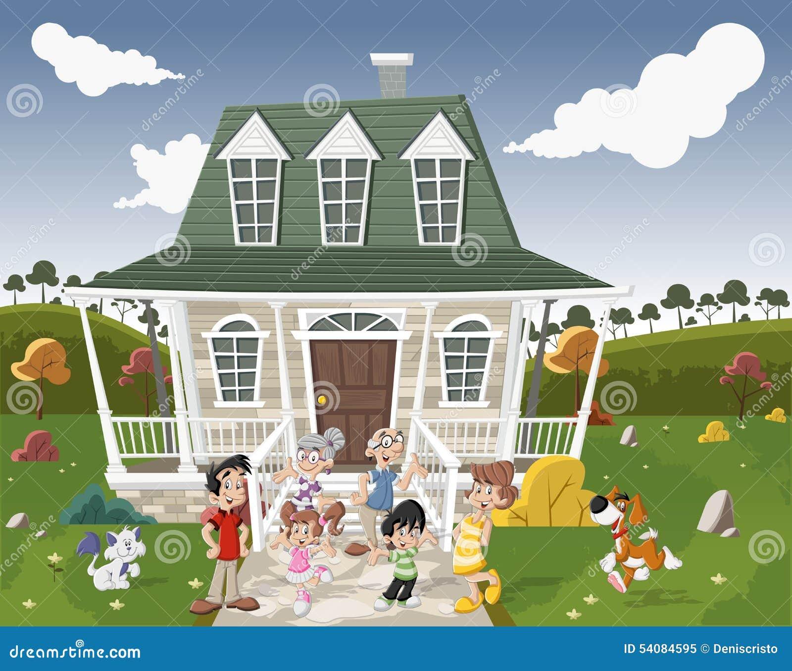 De gelukkige Familie van het Beeldverhaal