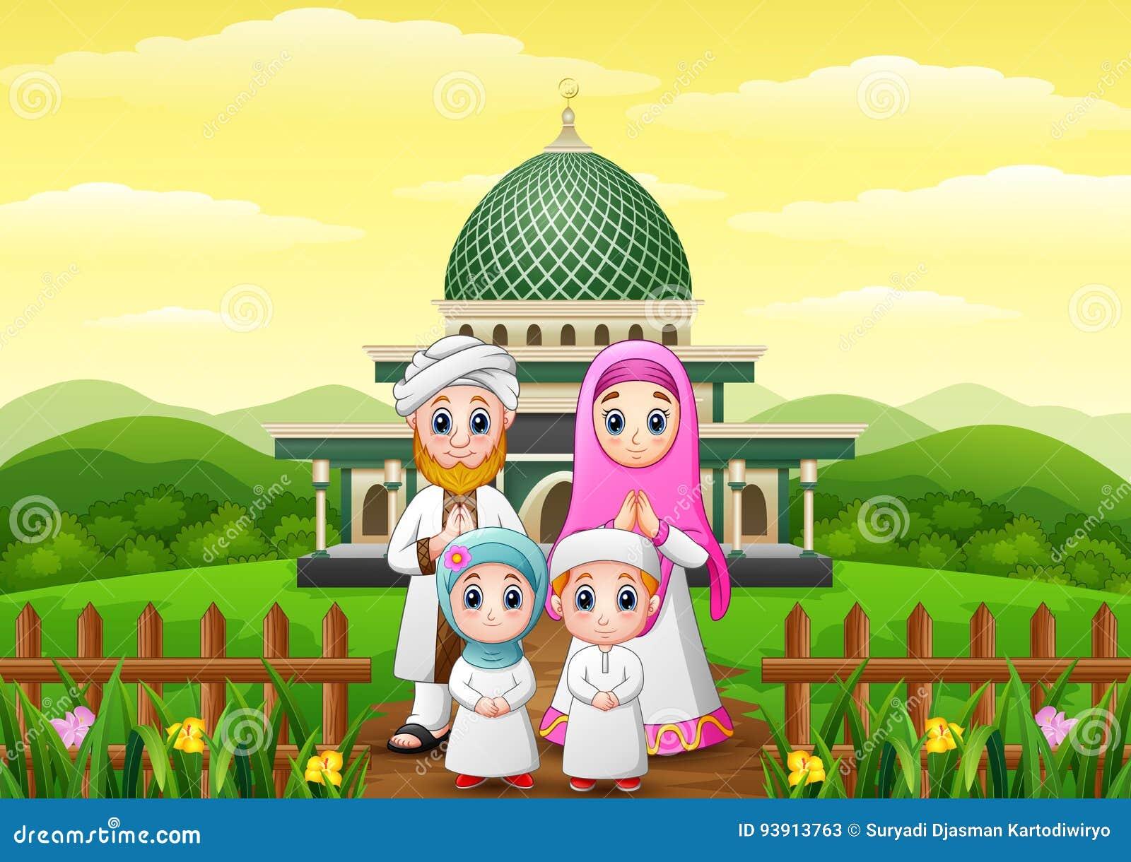 De gelukkige familiebeeldverhalen vieren voor eid Mubarak met moskee in het bos