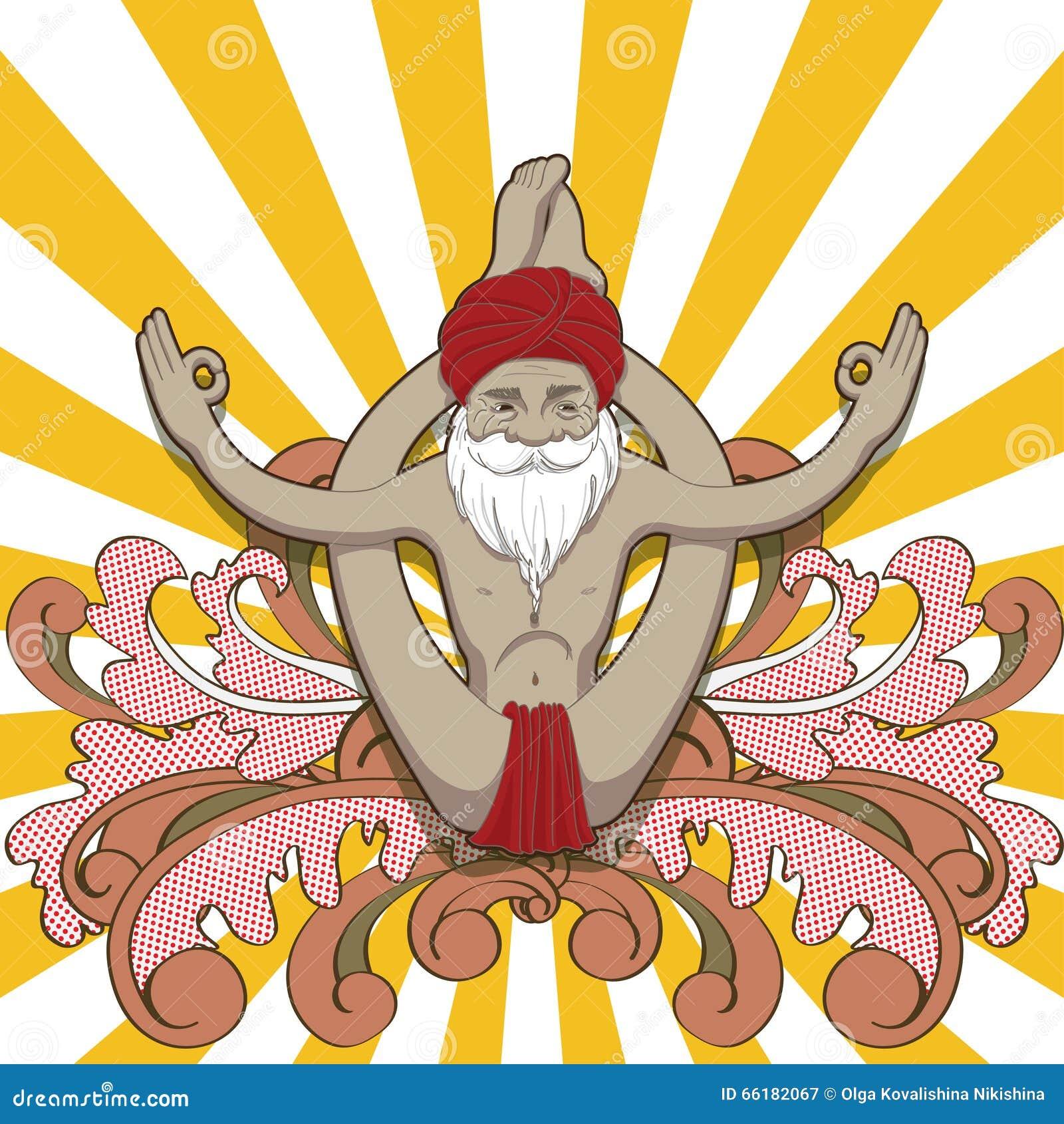 De gelukkige glimlachende oude mens maakt tot praktijk een yoga
