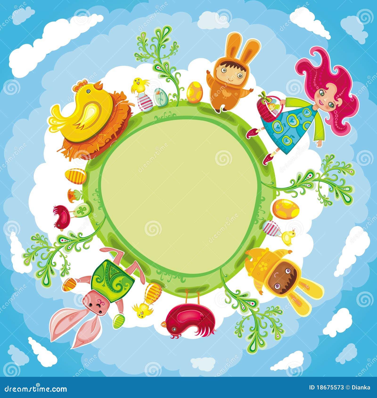 De gelukkige groene ronde kaart van Pasen