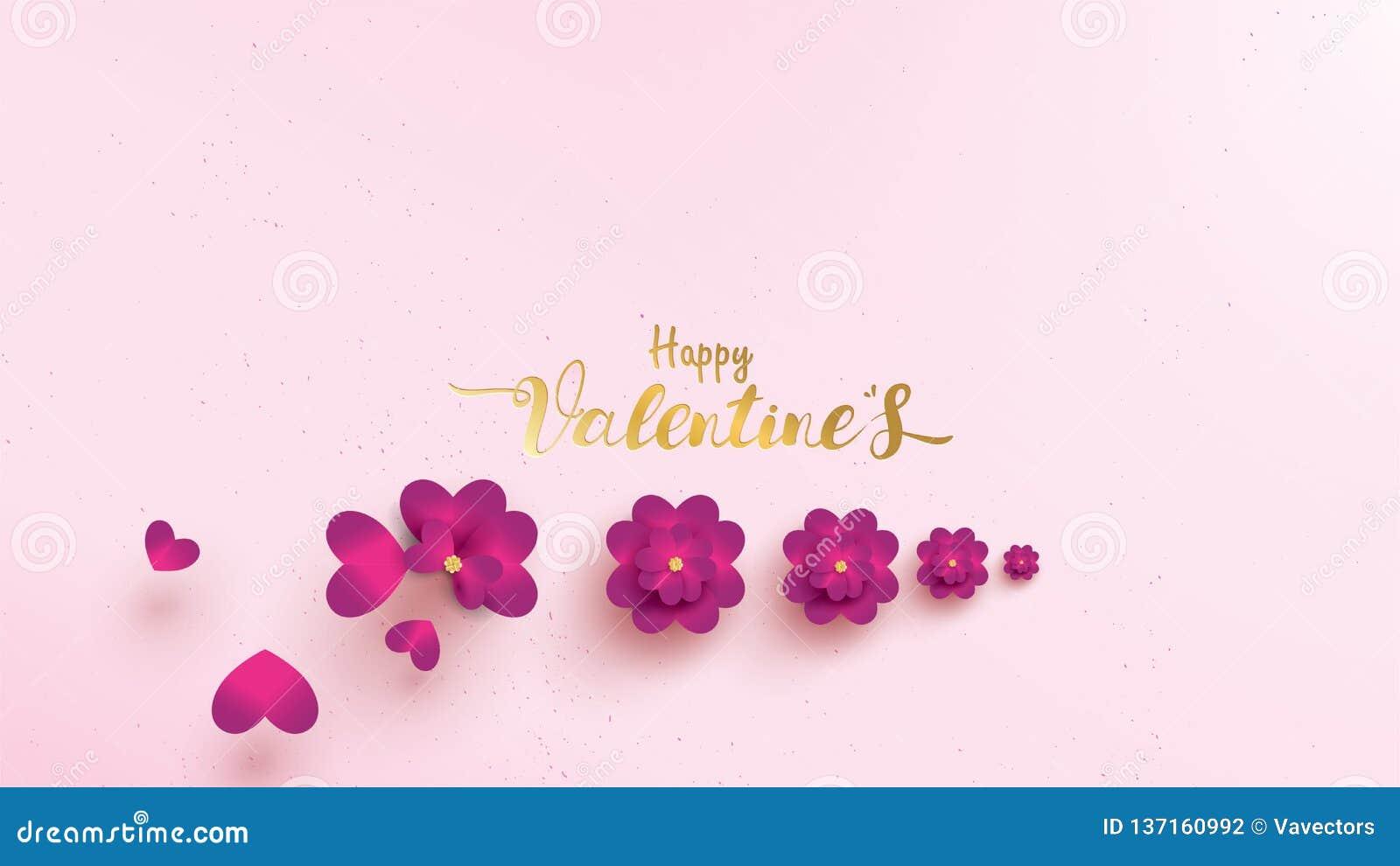 De gelukkige de groetkaart van de Valentijnskaartendag met roze en purpere bloem nam horizontale vorm of landschap toe Bloemencon
