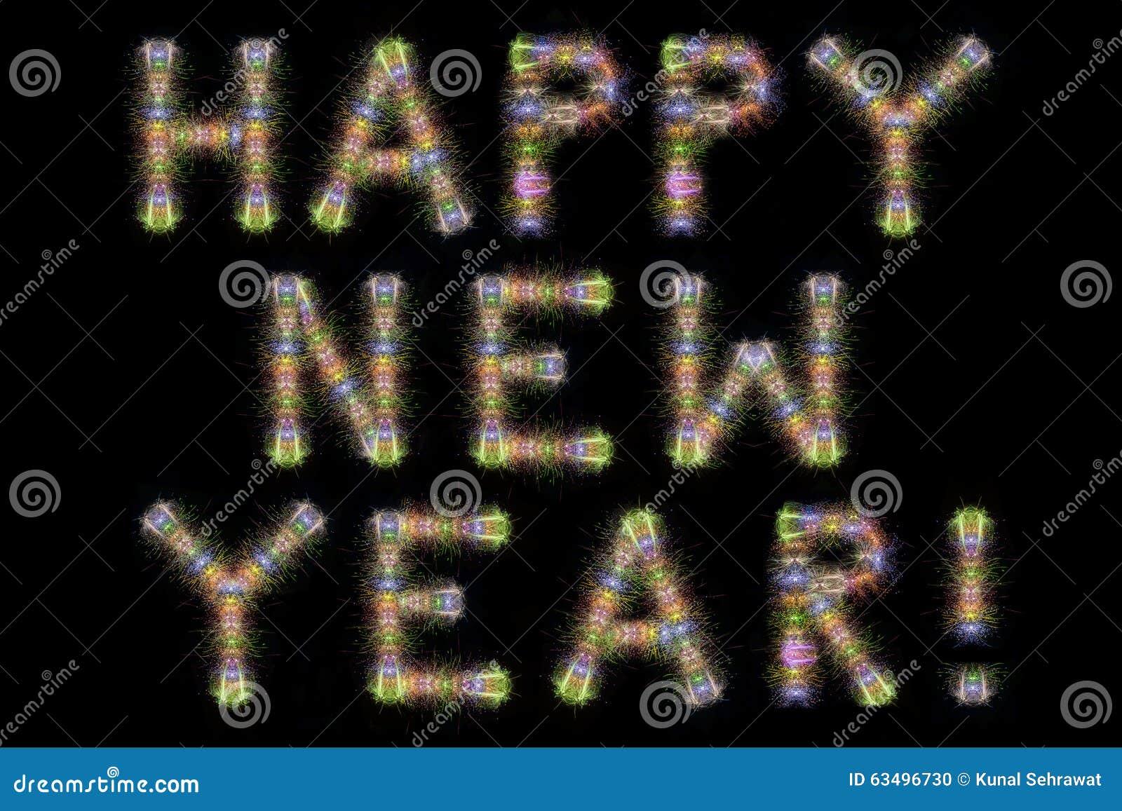 De gelukkige horizontale zwarte hemel van het Nieuwjaar kleurrijke fonkelende vuurwerk