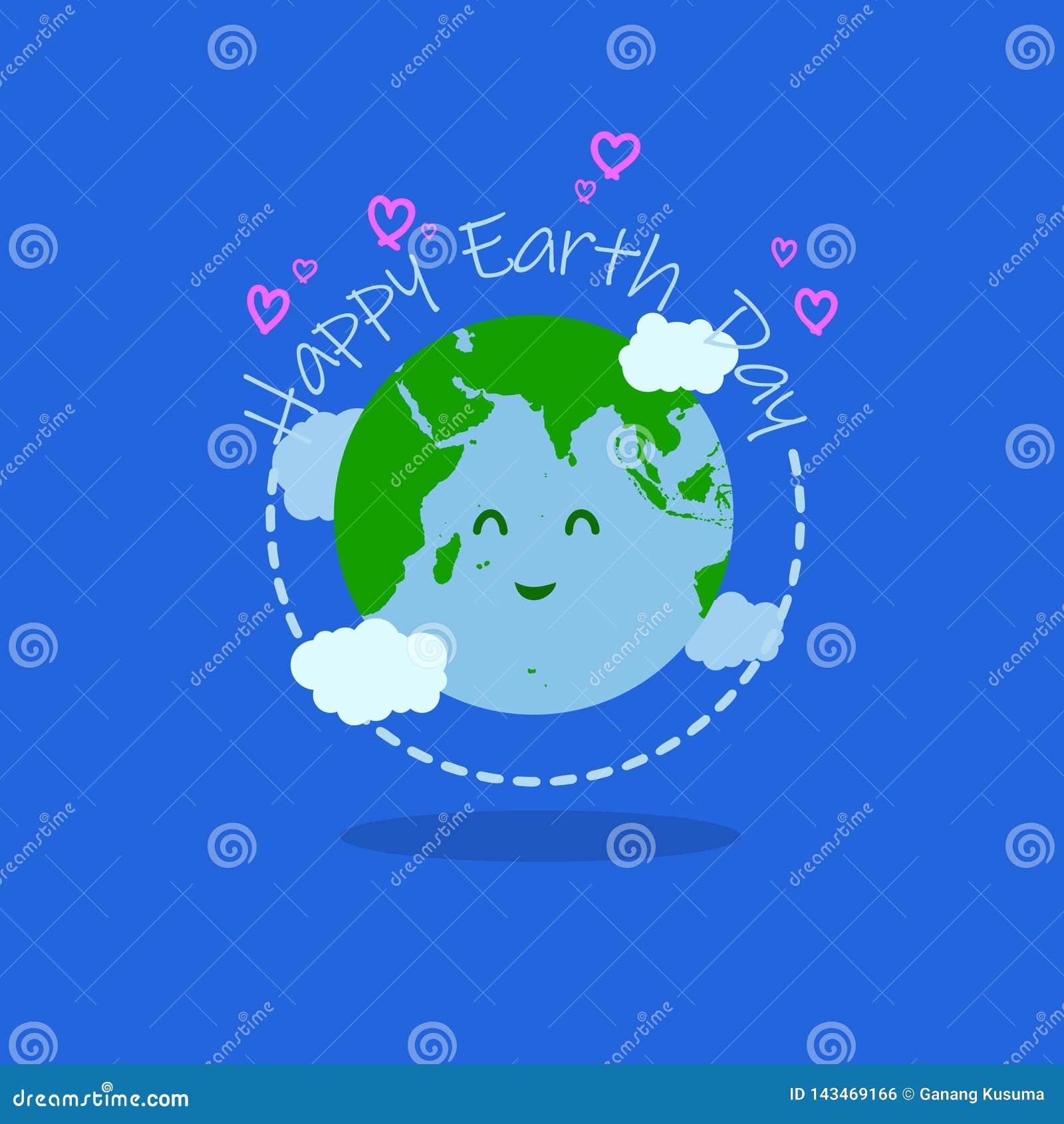 De gelukkige illustratie van de aardedag met gelukkige aardetypografie bij het midden heeft het karakter van de glimlachaarde en