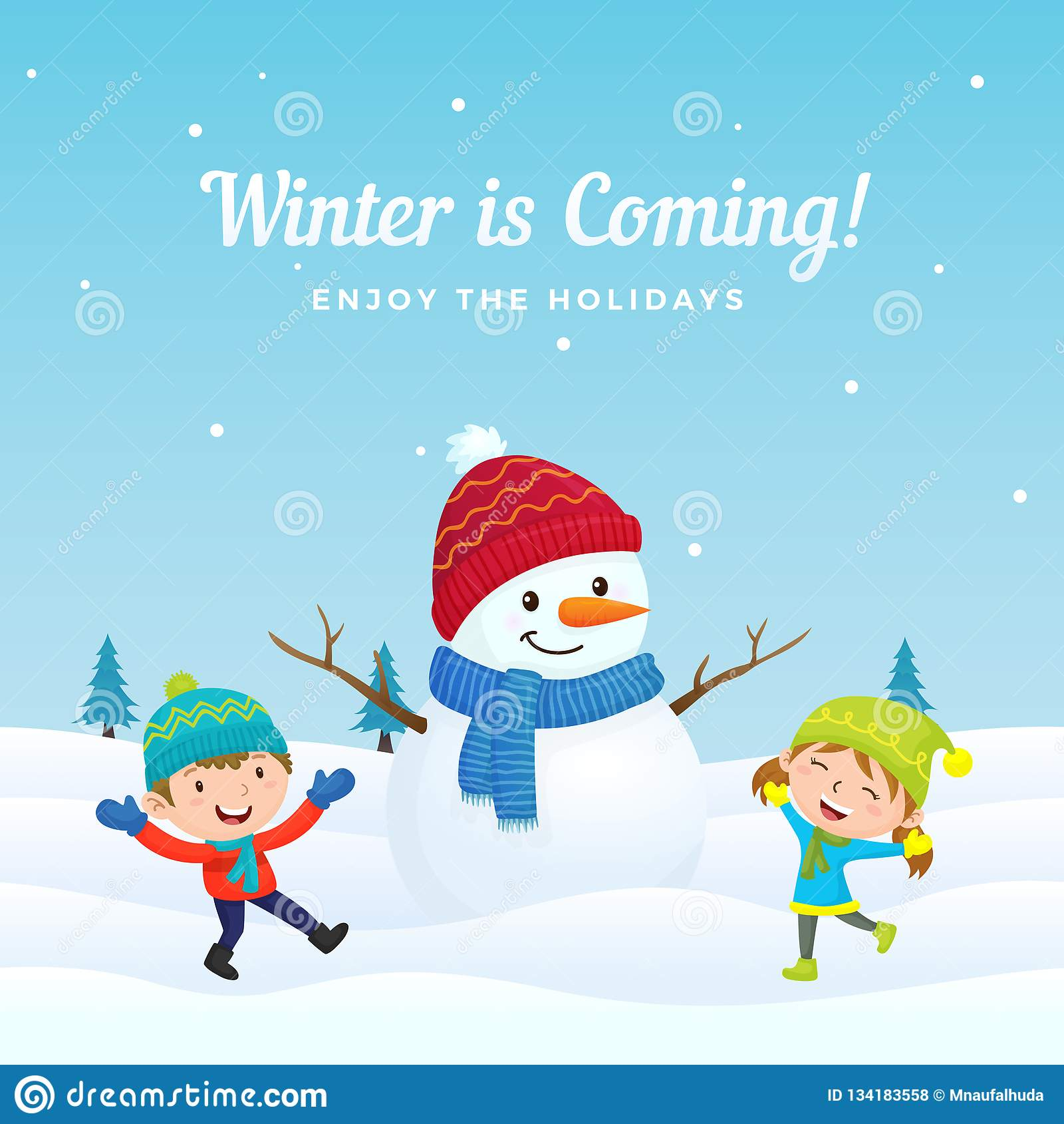 De gelukkige jonge geitjes springen en genieten van speel met grote leuke geklede sneeuwman in wintertijd vectorillustratie als a