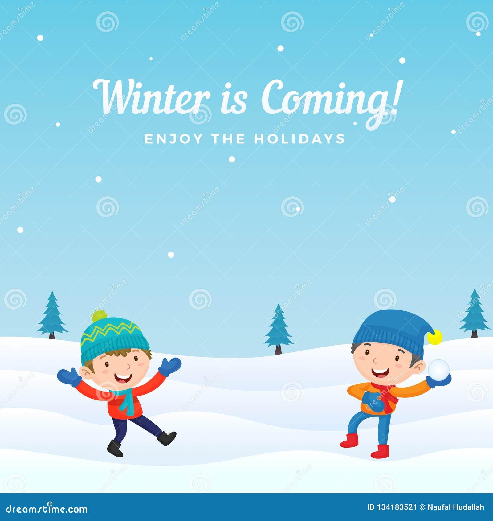 De gelukkige jongensjonge geitjes genieten van speel sneeuwbalstrijd in wintertijd vectorillustratie als achtergrond De kaart van