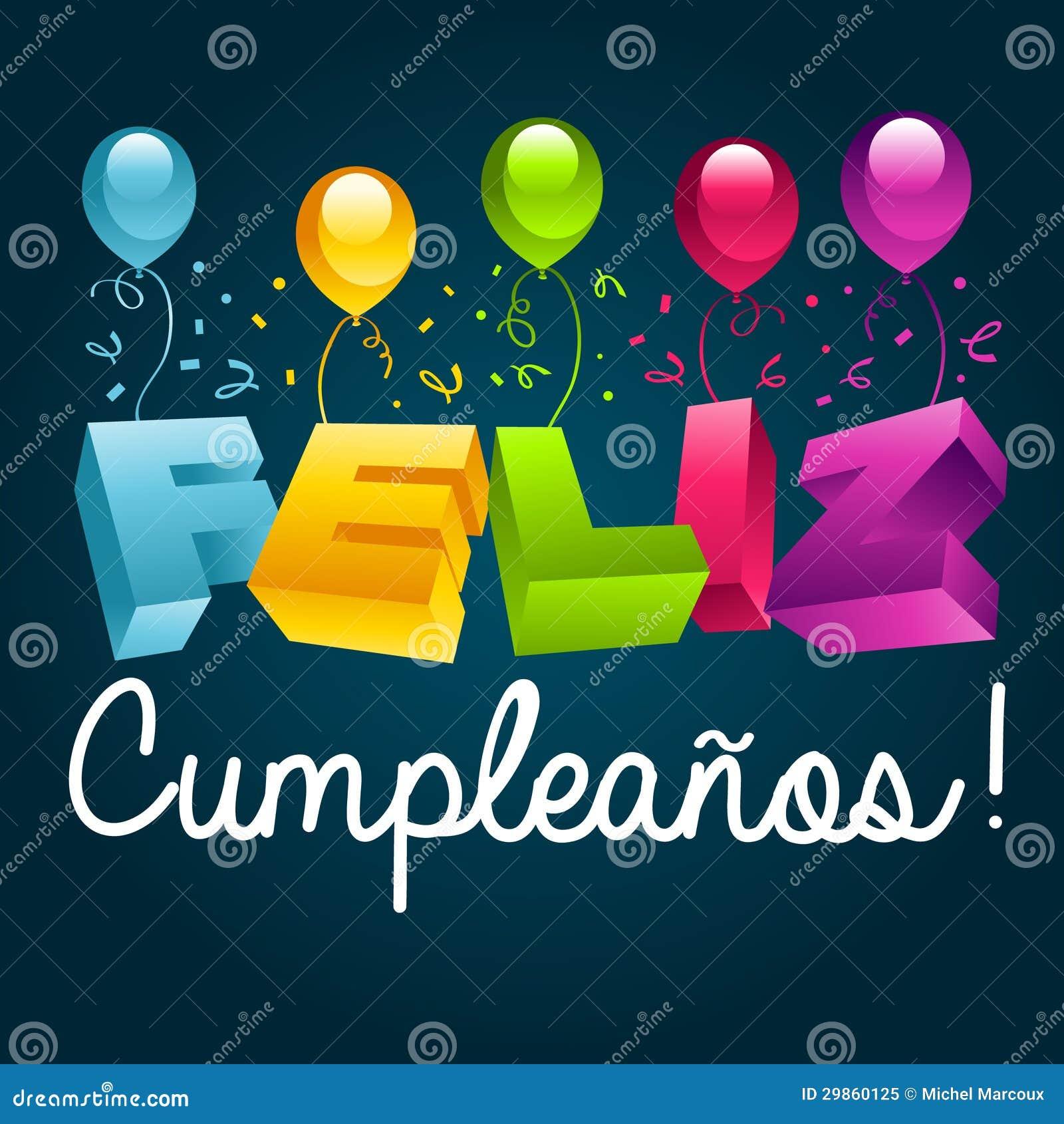 gefeliciteerd met je verjaardag in het spaans Feliz Cumpleanos   Gelukkige Verjaardags Spaanse Tekst Vector  gefeliciteerd met je verjaardag in het spaans