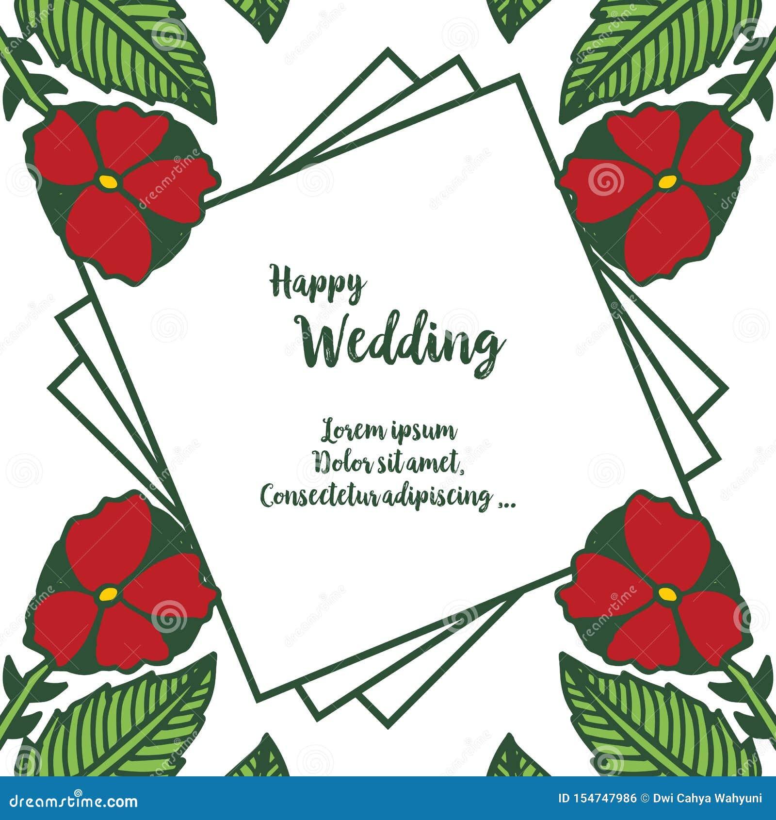 De gelukkige kaart van de huwelijksuitnodiging, met diverse bloemen en kader, voor behangachtergrond Vector