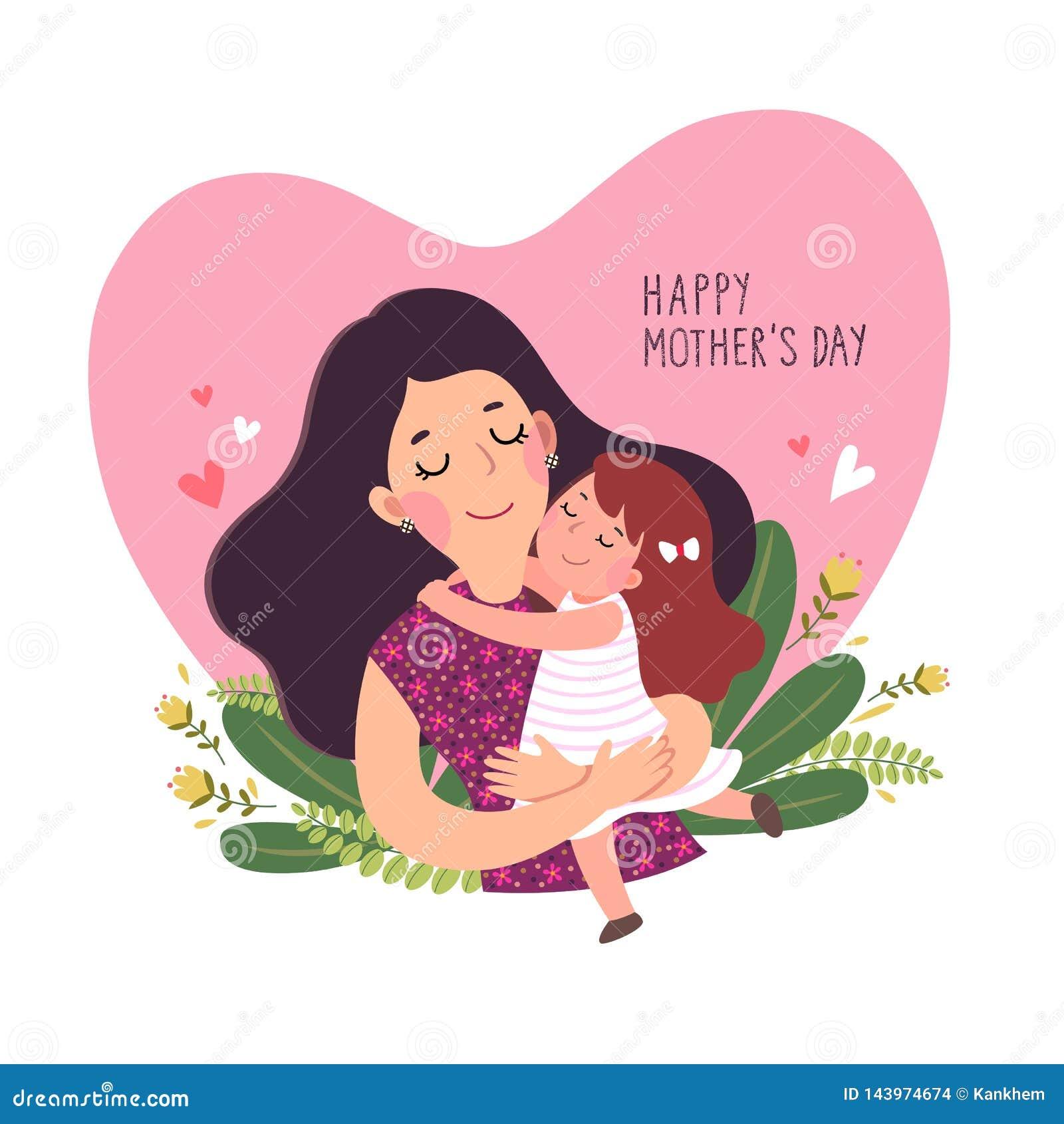 De gelukkige kaart van de mother'sdag Leuk meisje die haar moeder in gevormd hart koesteren