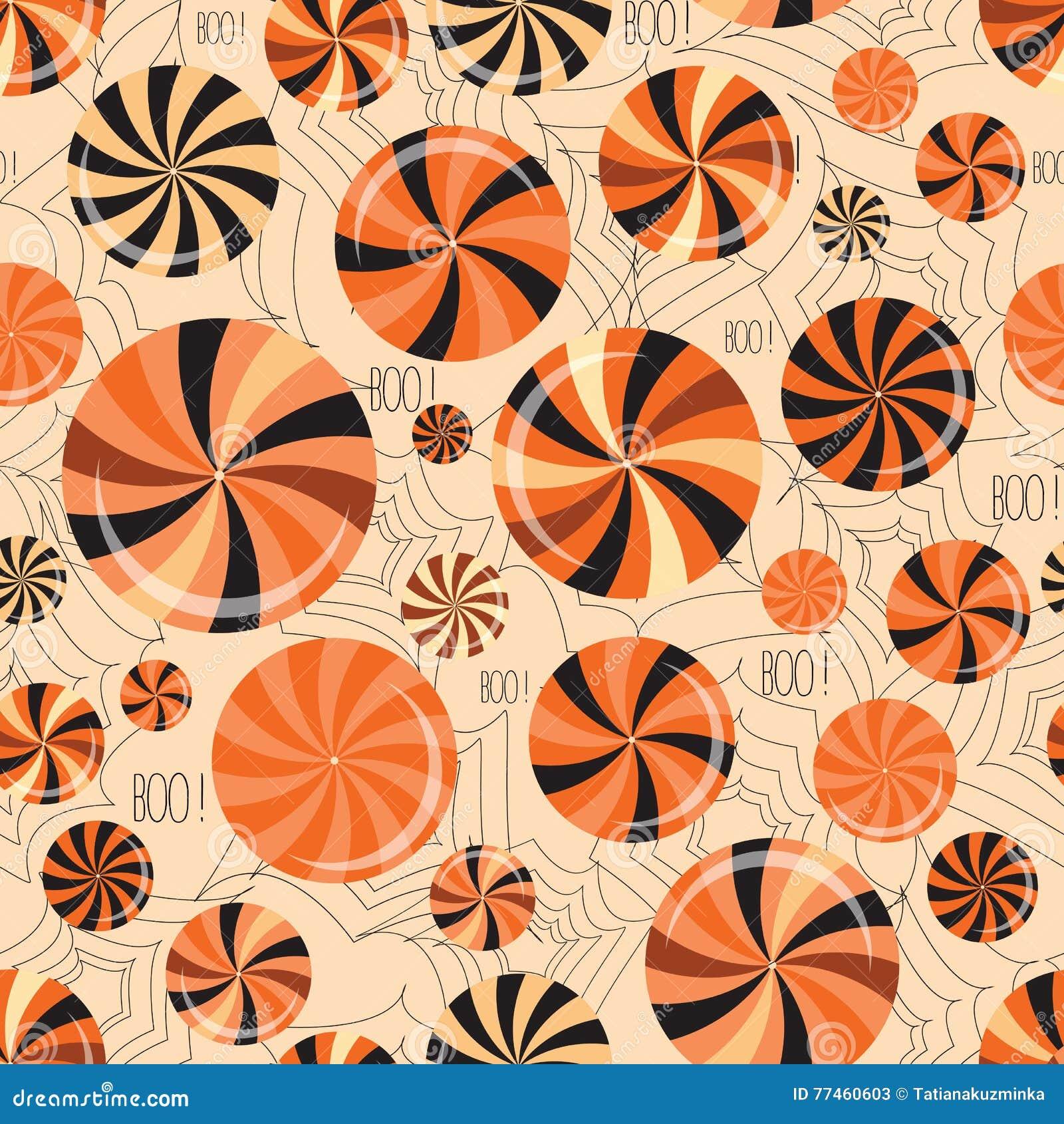 De gelukkige naadloze achtergrond van Halloween met snoepjes, suikergoed en spinneweb Vector patroon