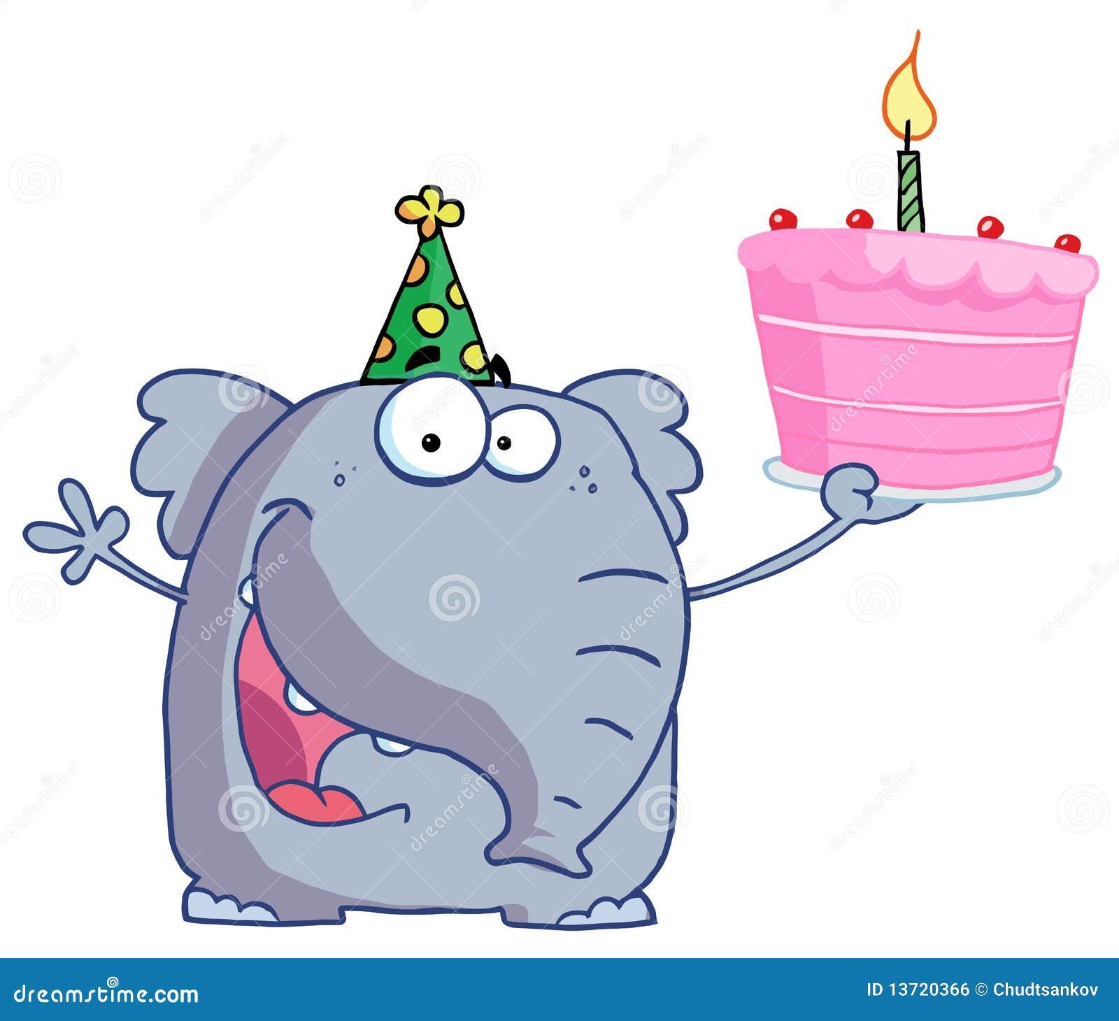 De Gelukkige Olifant Van De Verjaardag In Een Hoed Van De Partij