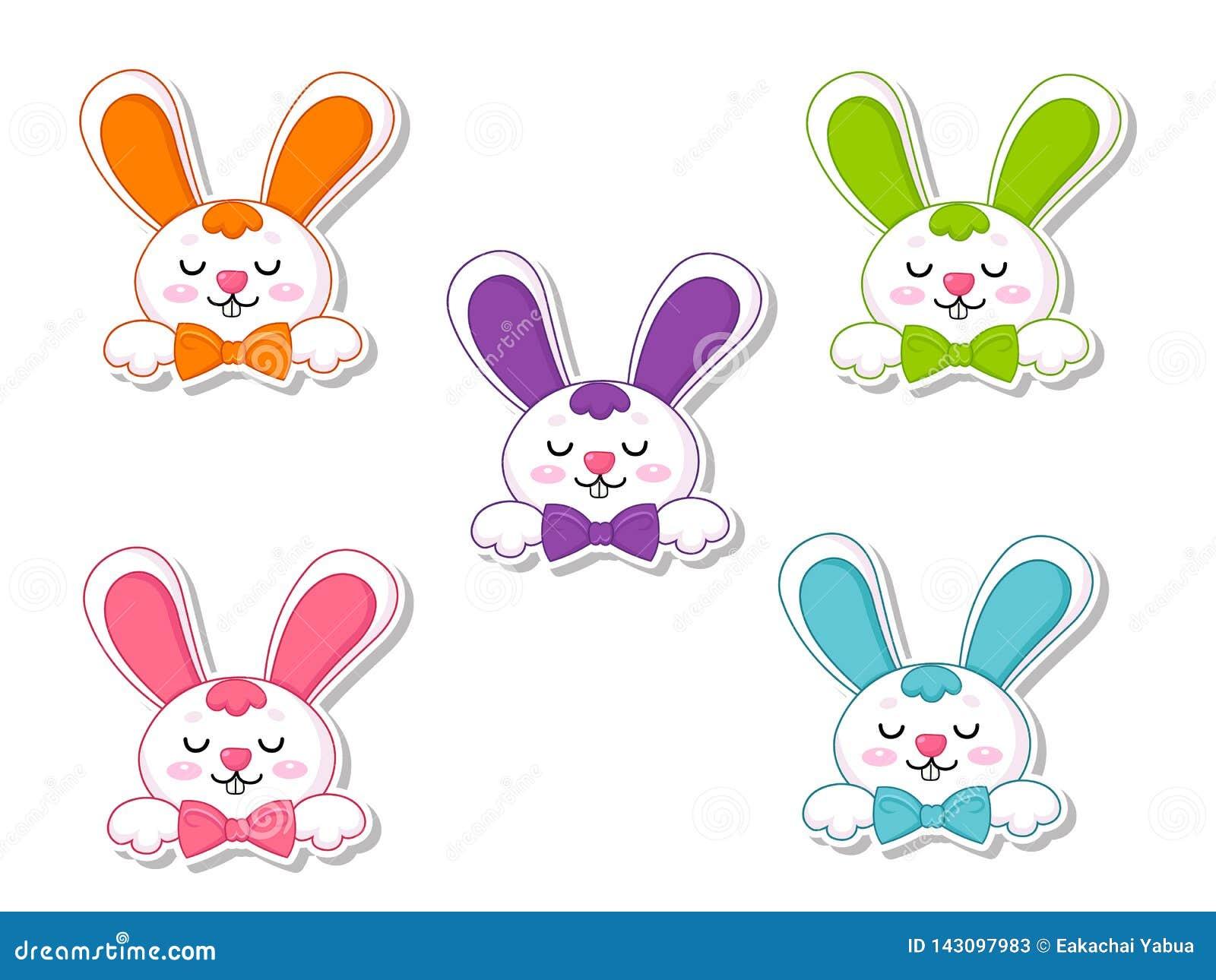 De gelukkige Sticker van het het Beeldverhaalkonijn van Pasen vastgestelde Leuke Vectorillustratie decoratief element op Pasen-Da