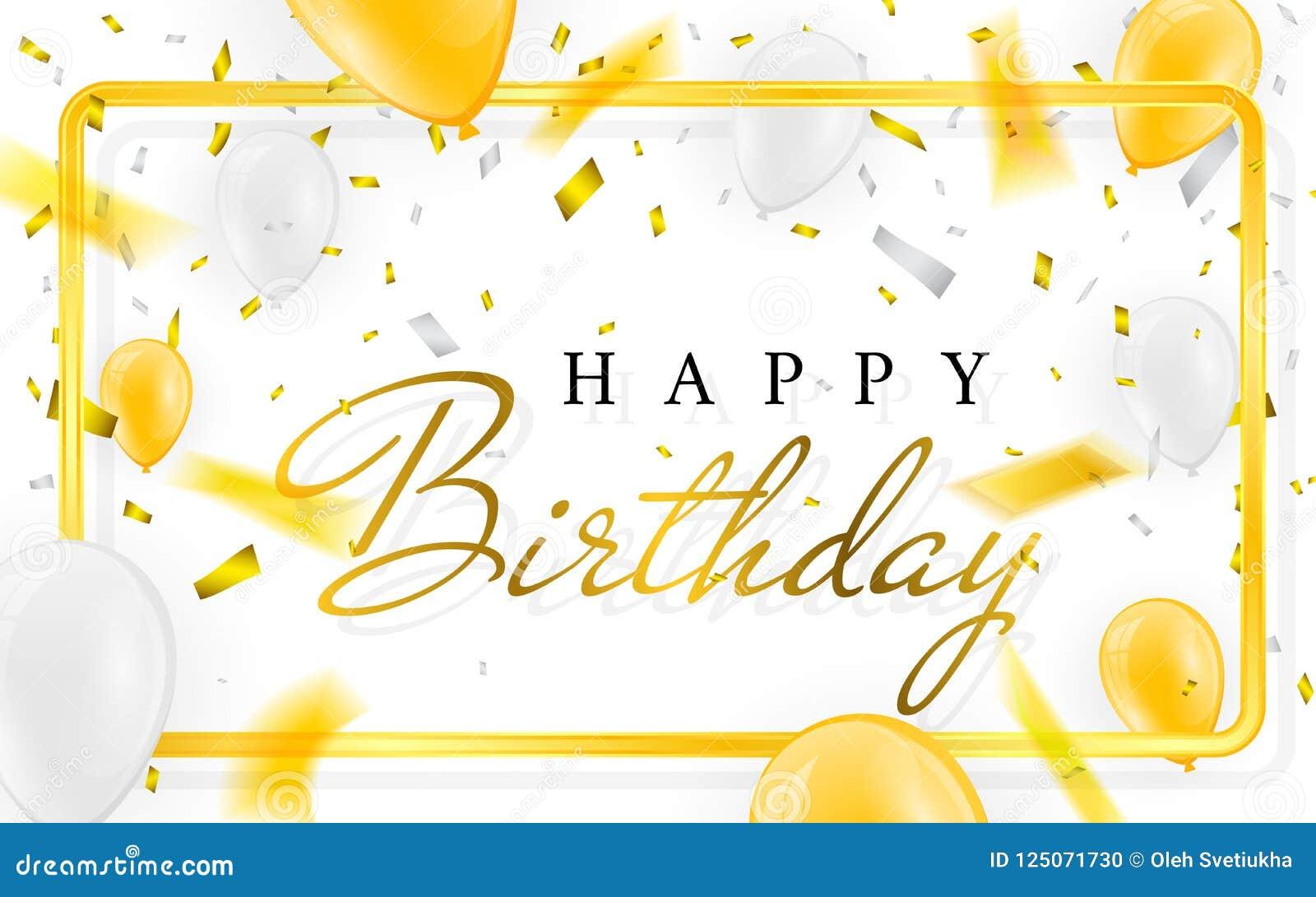 De gelukkige van de de partijbanner van de verjaardags vectorviering het de folieconfettien en wit Gouden en schitteren gouden ba