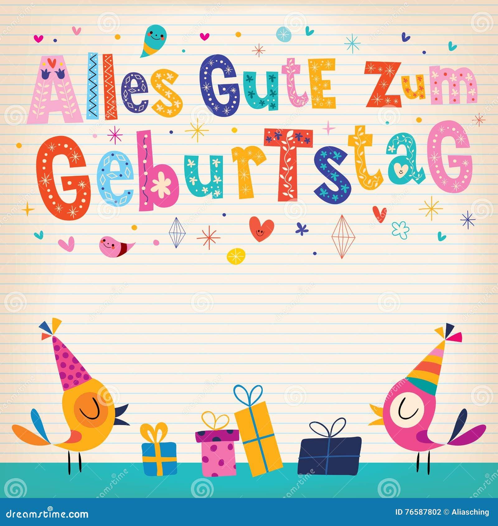 De Gelukkige Verjaardag Van Allesgute Zum Geburtstag In Het