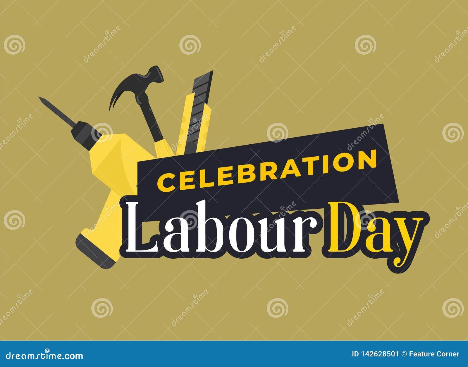 De gelukkige Viering van de Arbeidsdag De gelukkige Prentbriefkaar van de Arbeidsdag of Affiche of Vliegermalplaatje Het gelukkig