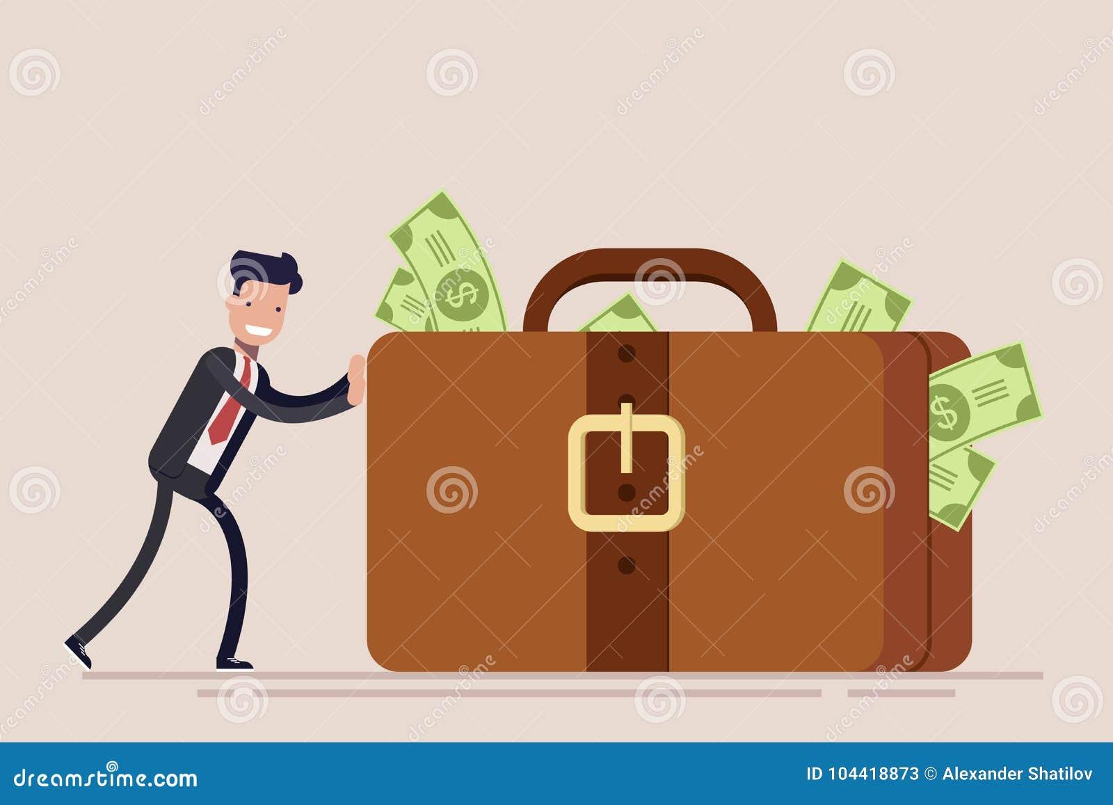 De gelukkige zakenman of de manager duwen een reusachtige koffer of een aktentas met geld Het concept diefstal of omkoperij Vecto