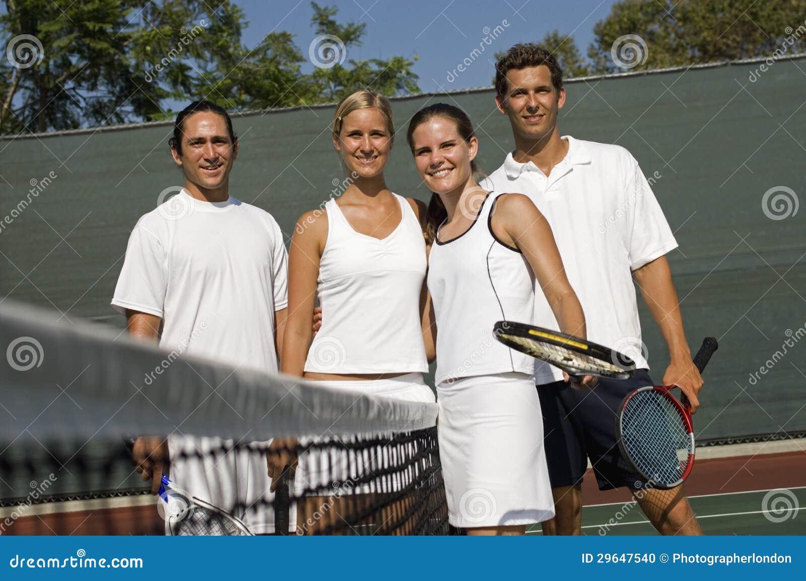 De gemengde Spelers van het Tennis van Dubbelen
