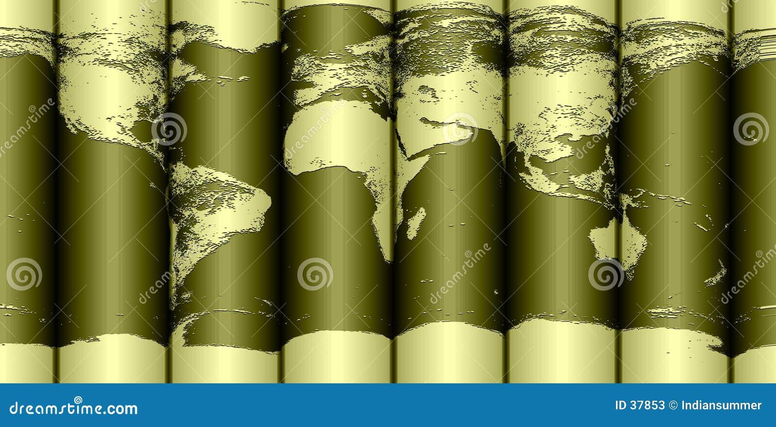 De gerolde kaart van de Aarde