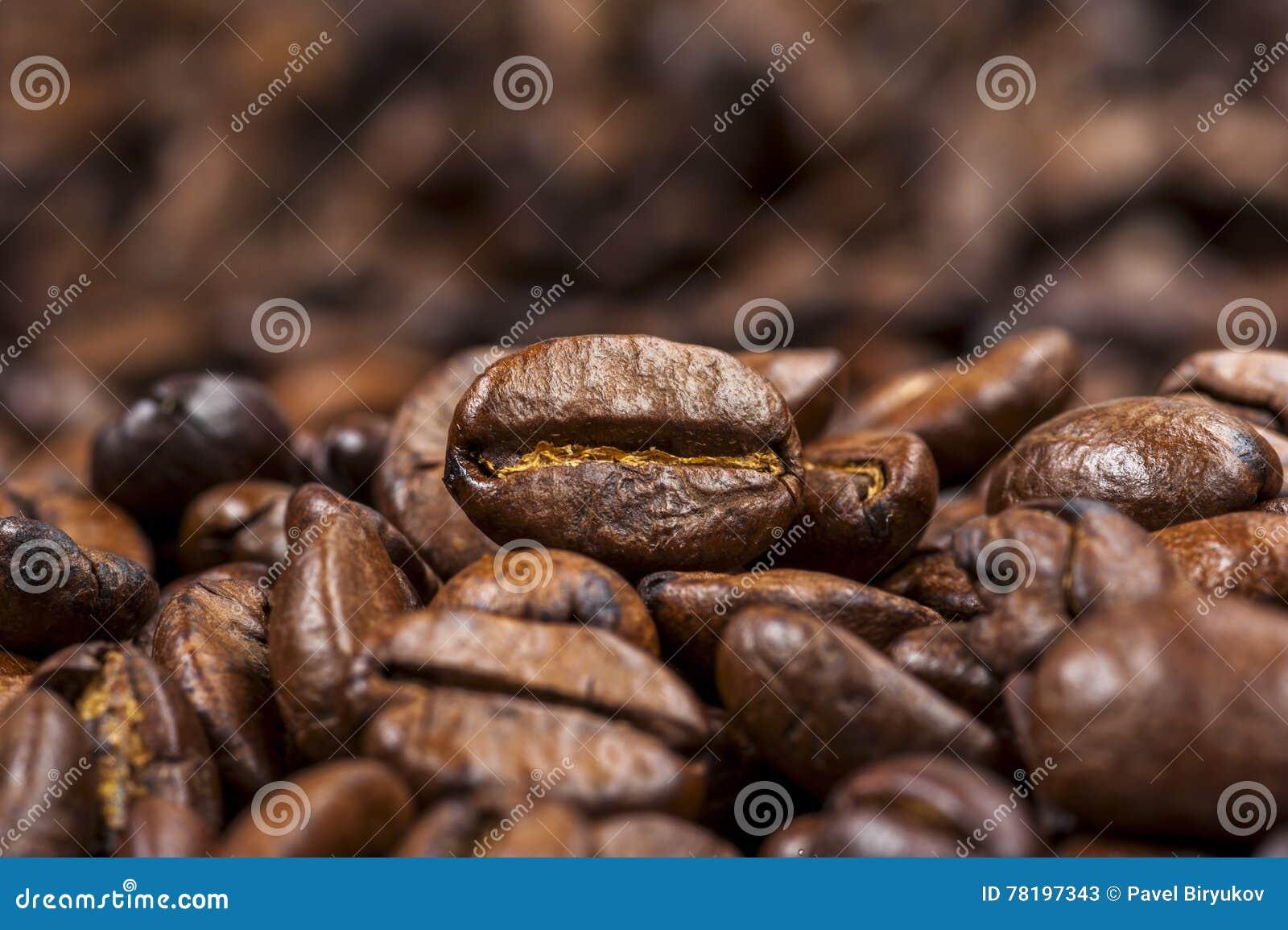 De geroosterde achtergrond van koffiebonen