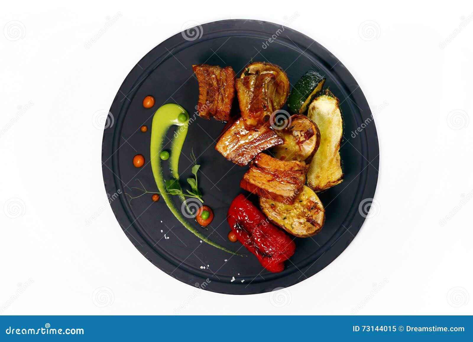 De geroosterde ribben van het honingsvarkensvlees