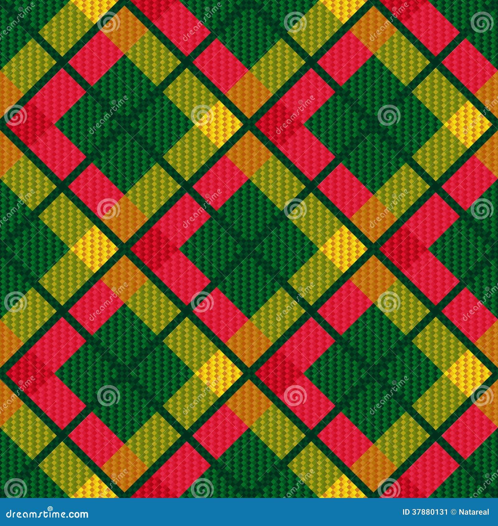 De geruite diagonale naadloze textuur van de geruit Schots wollen stofstof