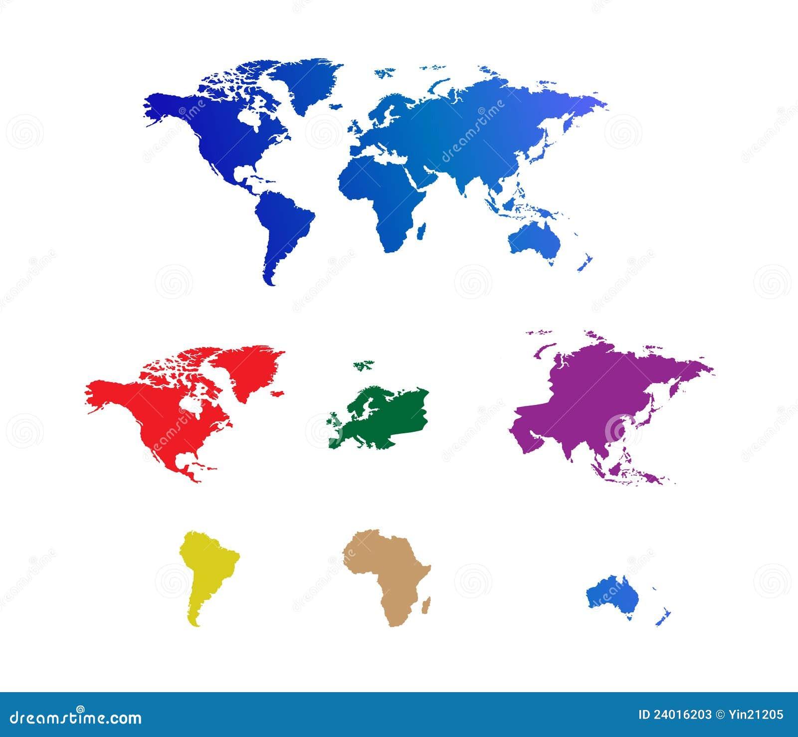 De gescheiden continenten van de wereld kaart stock illustratie afbeelding 24016203 - Basket thuis van de wereld ...