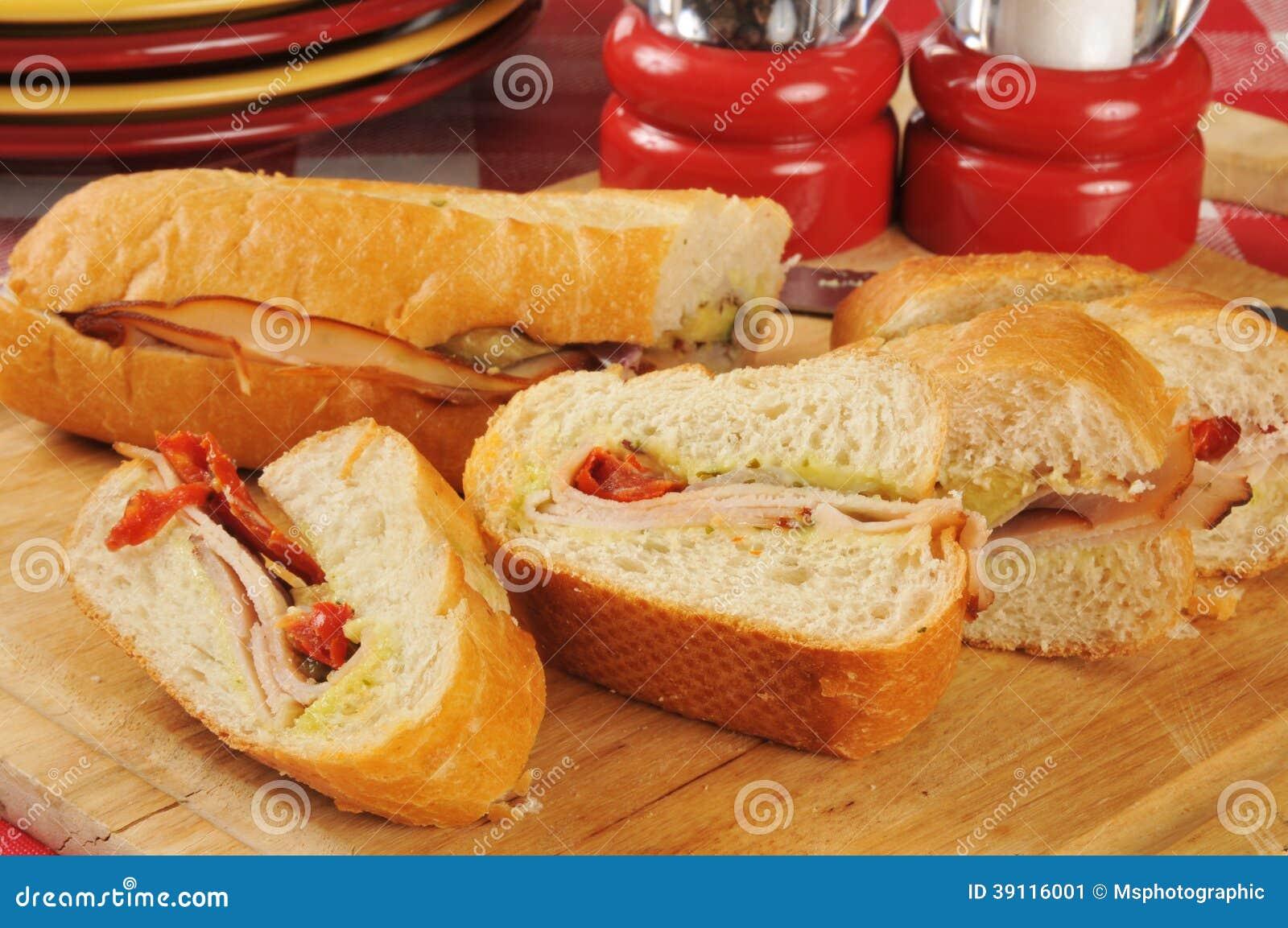 De gesneden sandwich van Turkije