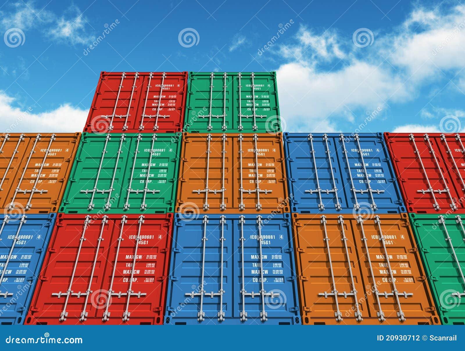 De gestapelde containers van de kleurenlading over de blauwe hemel