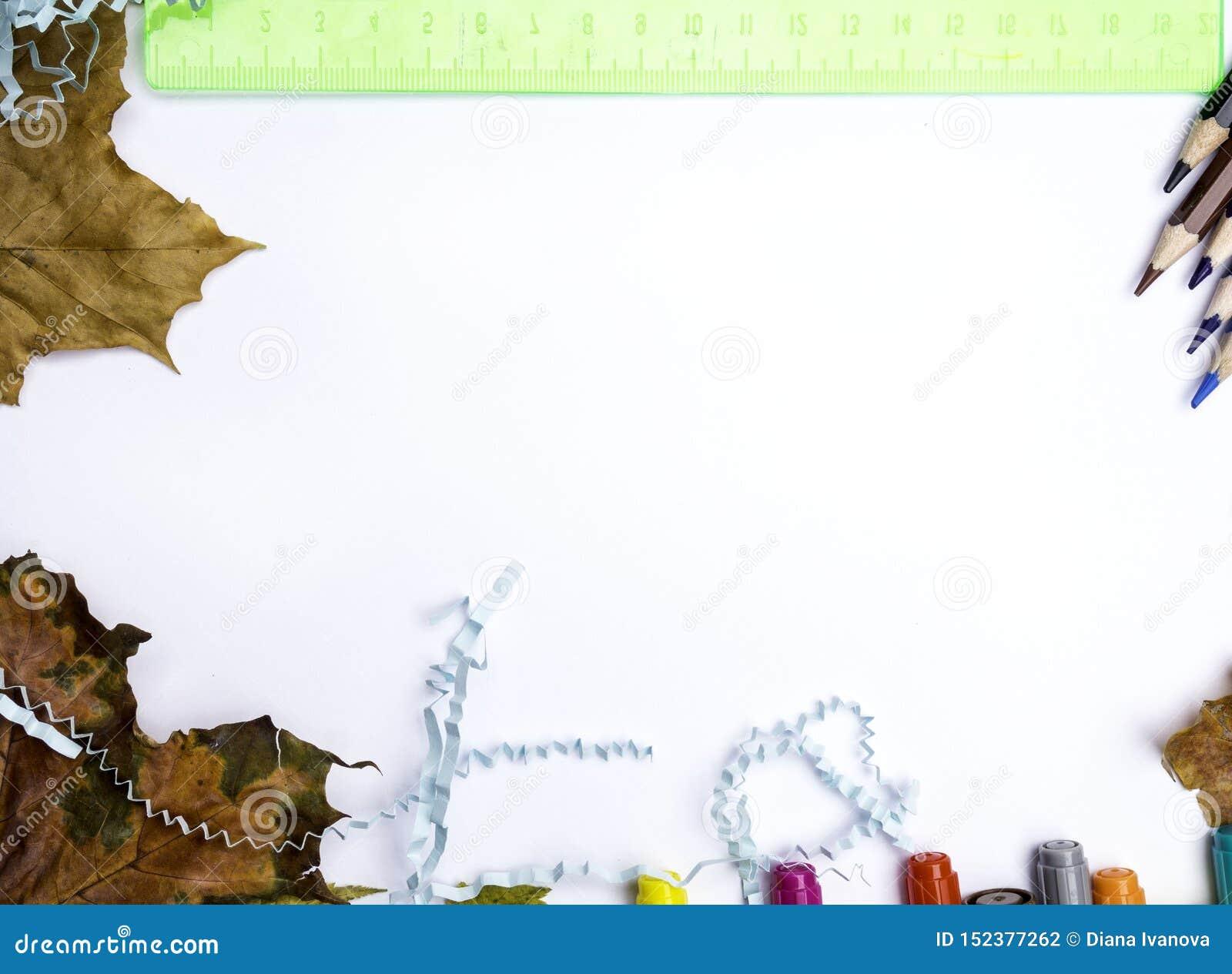 De gestempelde Inschrijving terug naar school met tellers, potloden, blauw letterlijk document, groene heerser en de herfst verla