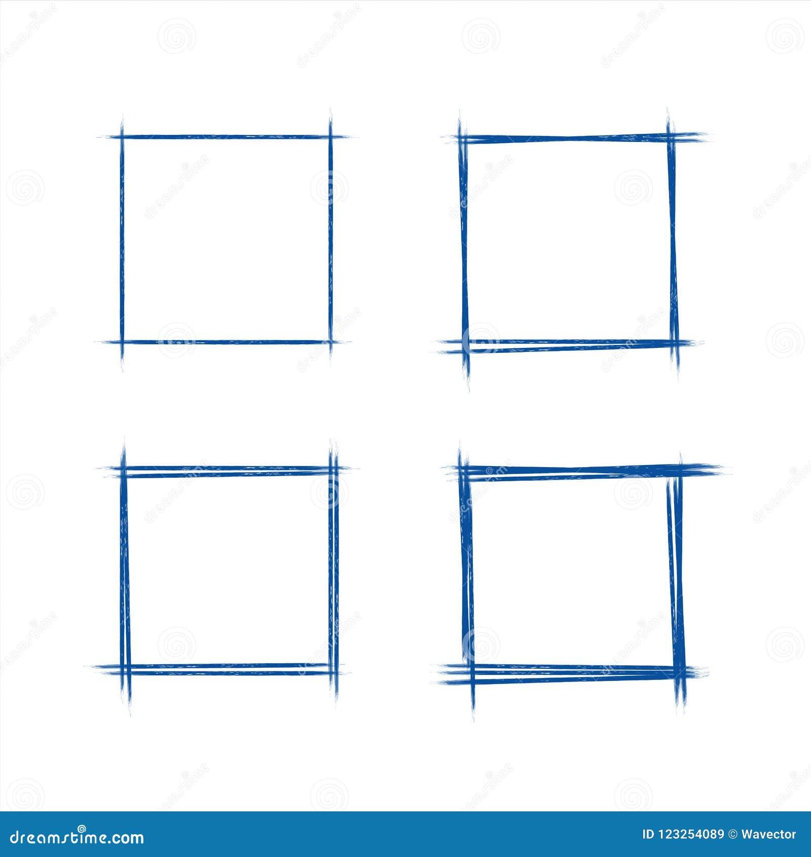 De getrokken reeks van hand grunge stileert donkerblauw uitstekend vierkant de krabbelgekrabbel van de ballpointrechthoek op Witb