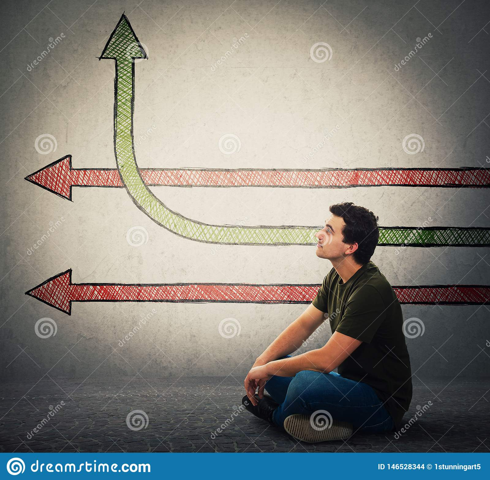 De gezette mens veronderstelt pijlen aangezien de ideeën één het veranderende richting benting uitgaan