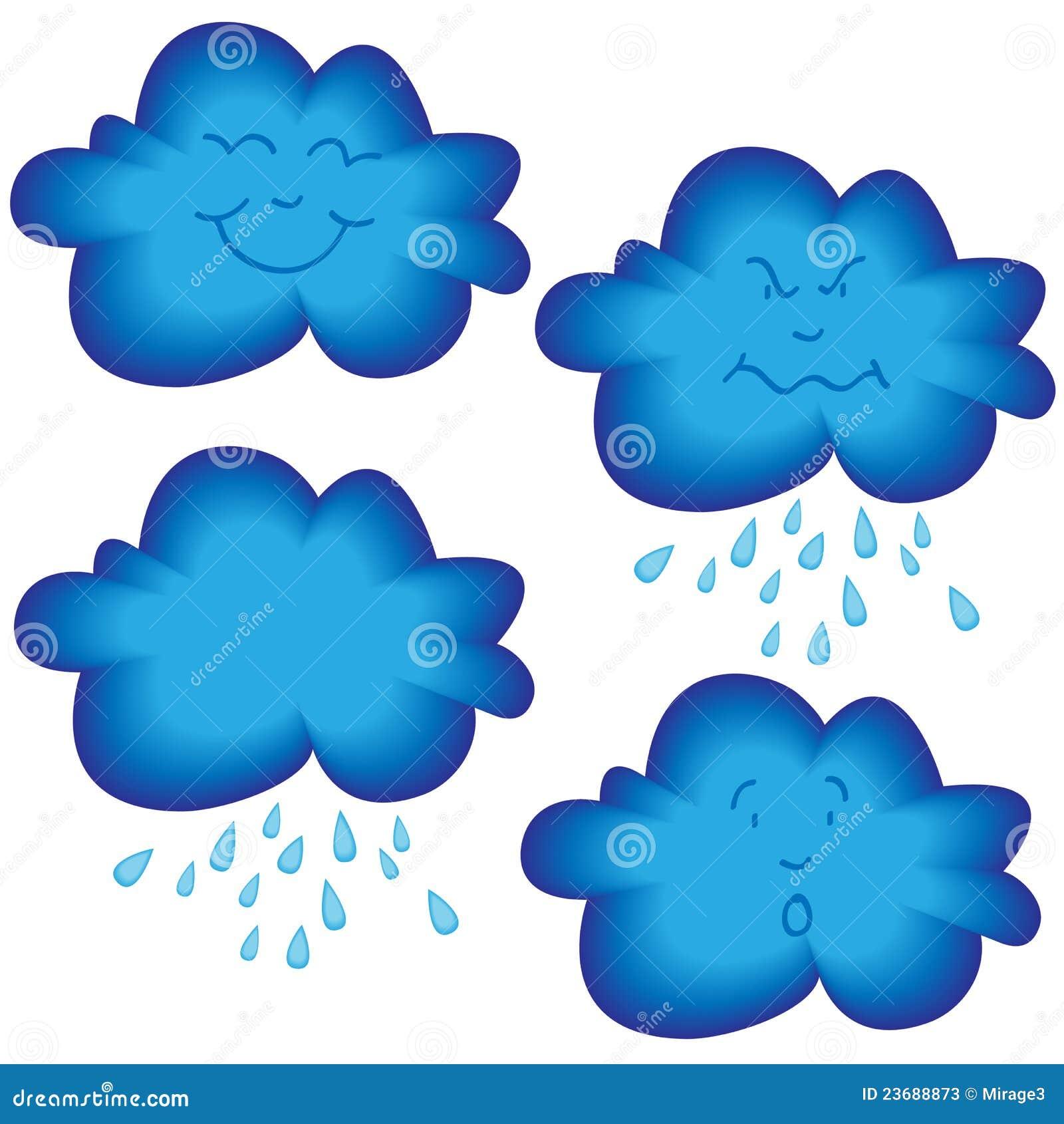 Inzameling van grappige beeldverhaal blauwe wolk met verschillende ...: nl.dreamstime.com/stock-foto-s-de-gezichten-van-de-wolk-image23688873