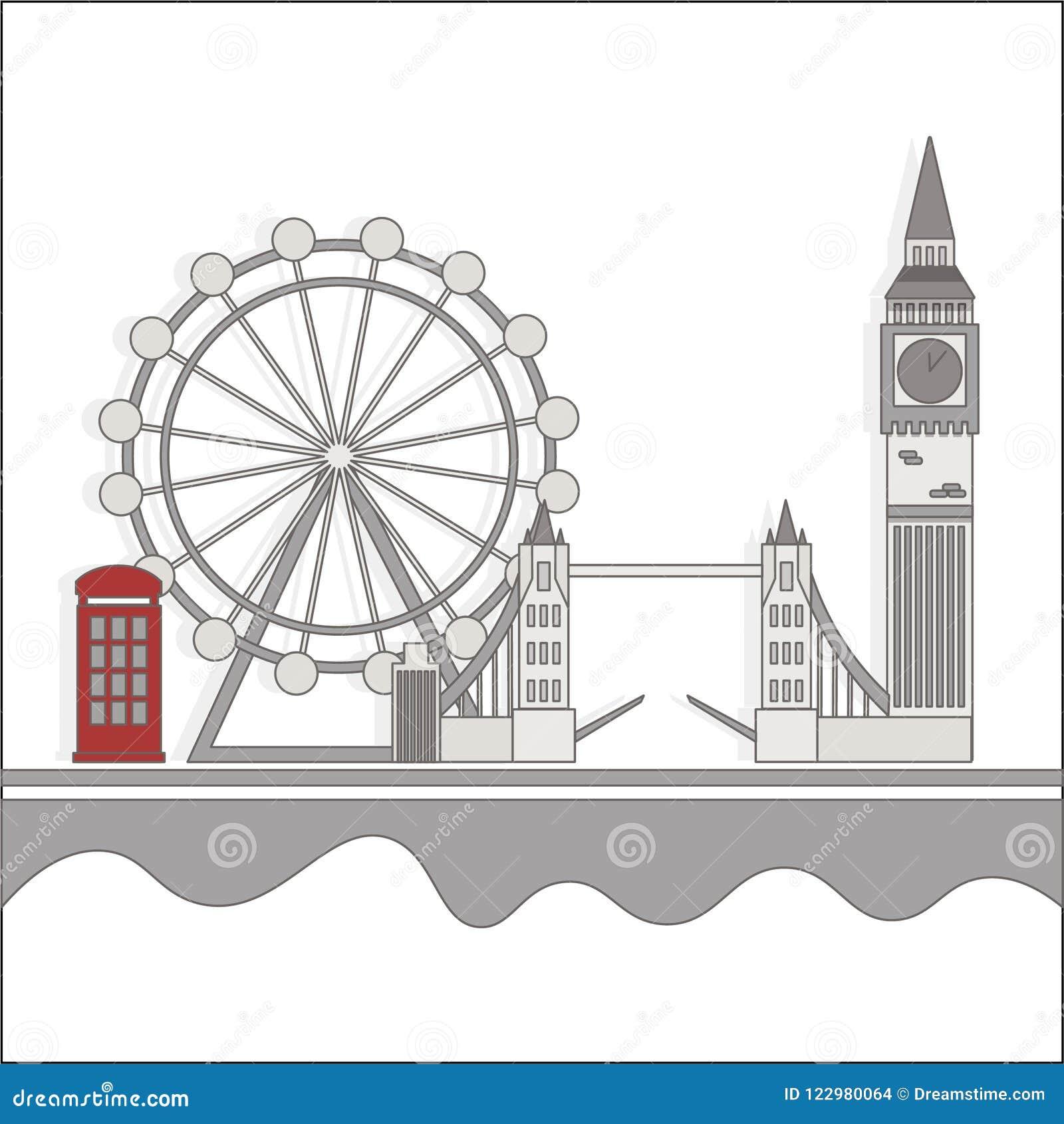 De gezichten van Londen met een rode cabine