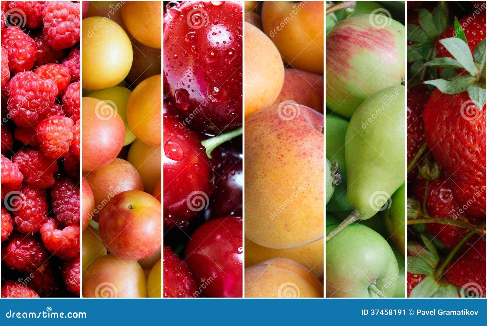 De gezonde collage van het fruitvoedsel