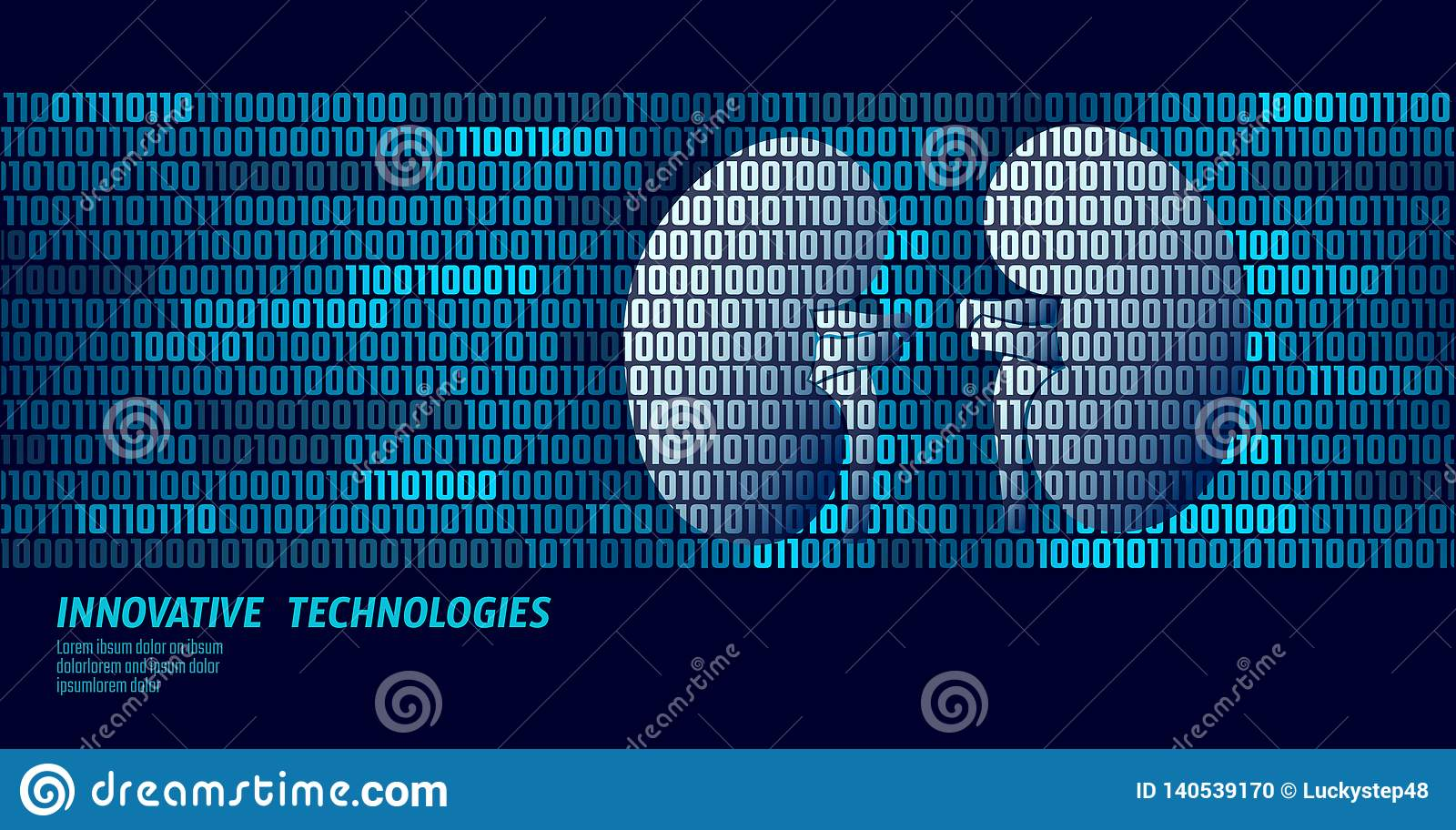 De gezonde interne organen van de nierenurologie De stroom van binaire codegegevens Vectorillustratie van de artsen de online inn