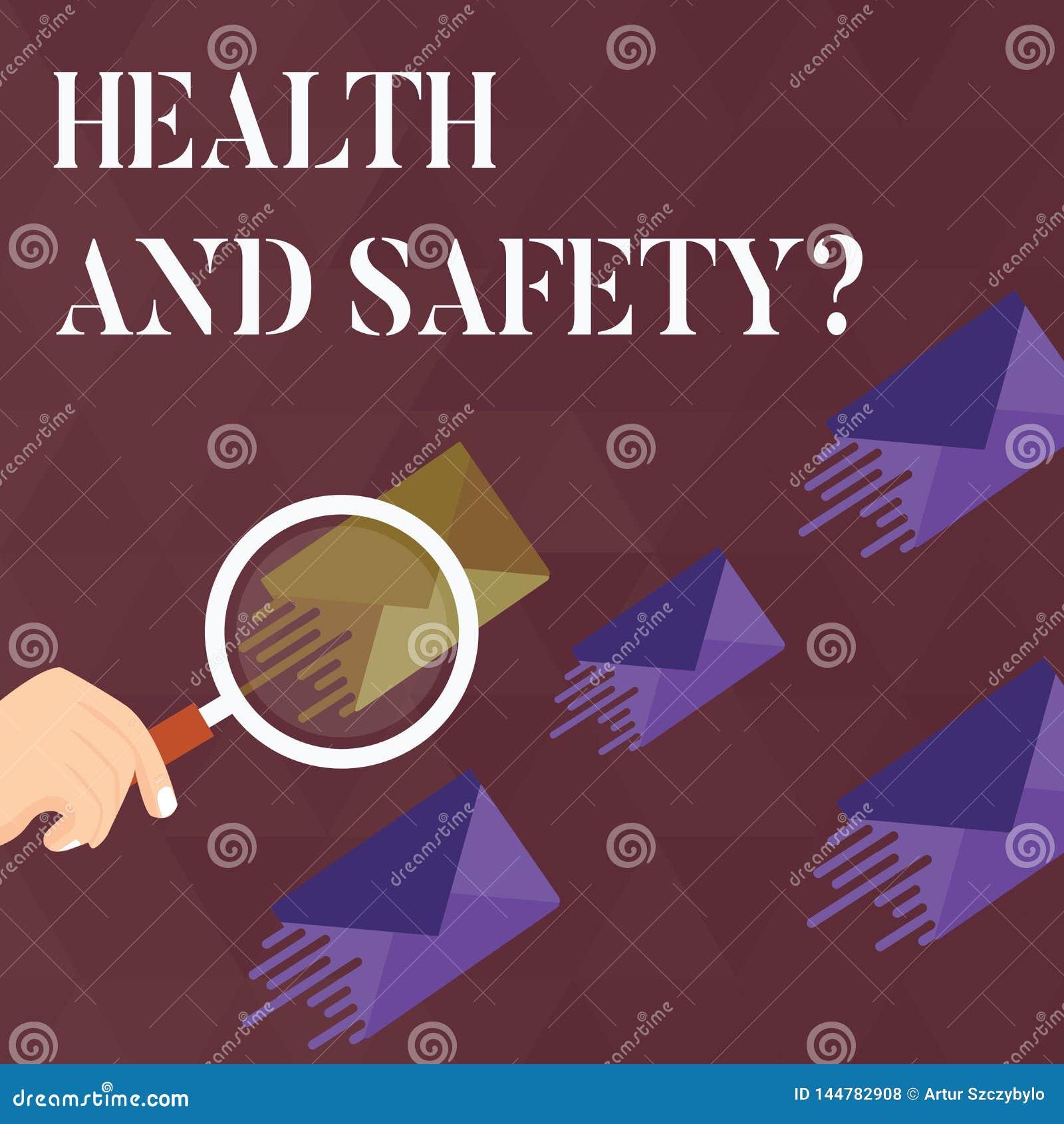 De Gezondheid en de Veiligheidsvraag van de handschrifttekst Concept die verordeningen en procedures betekenen om ongeval of verw