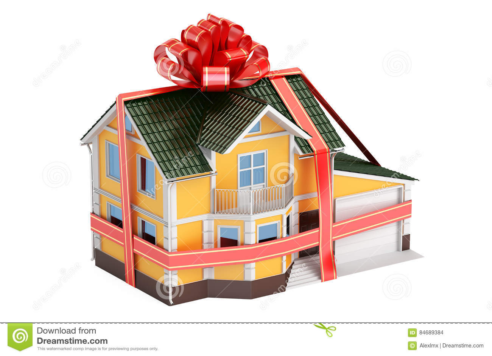 De gift van het huis Herenhuis met lint en boog, het 3D teruggeven