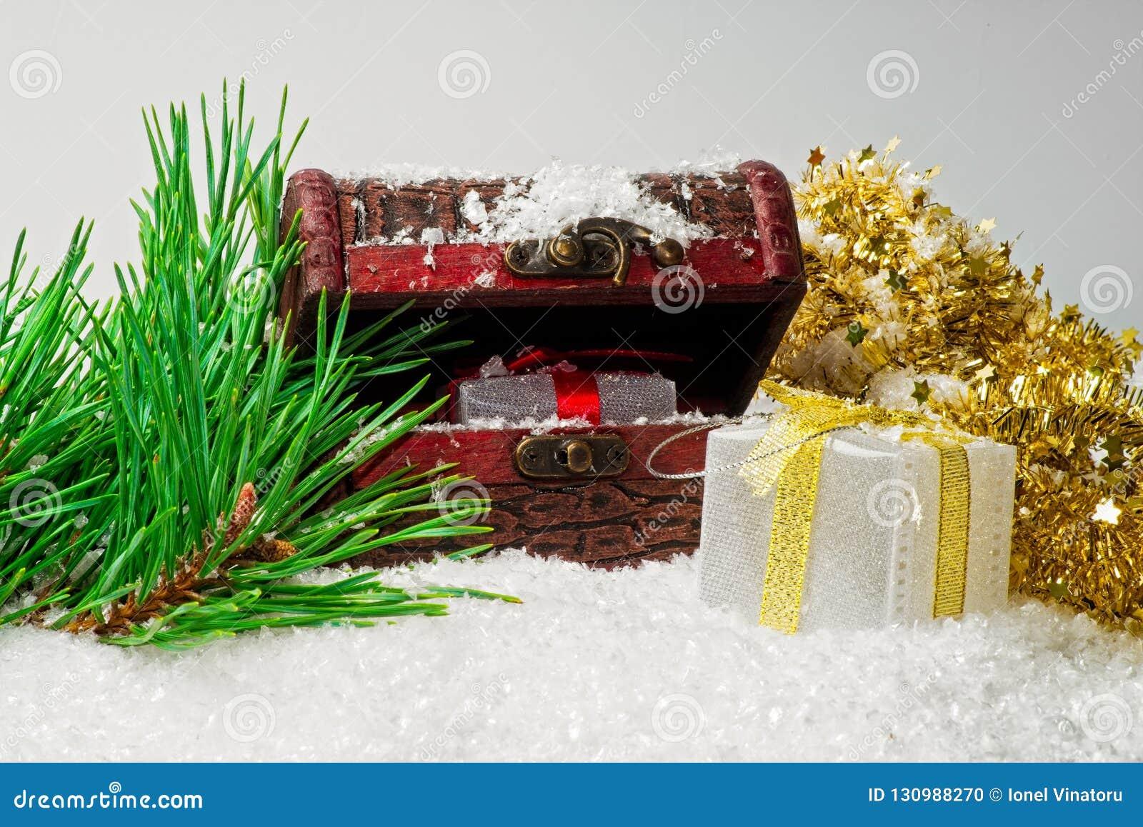 De giftdozen van schoonheidskerstmis met lint, de takken van de sneeuwpijnboom
