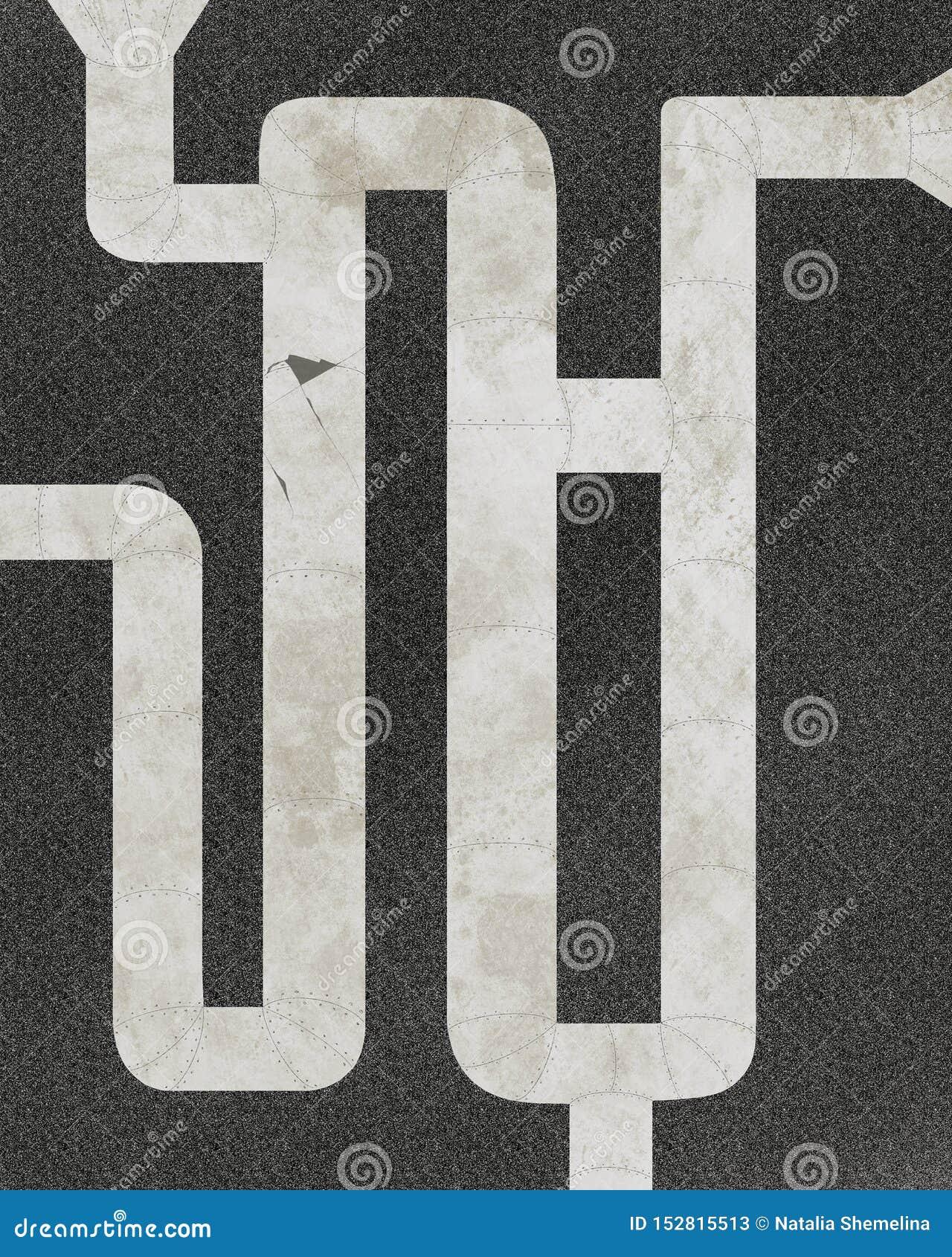 De gistna rostiga avklopprören, abstrakt illustration