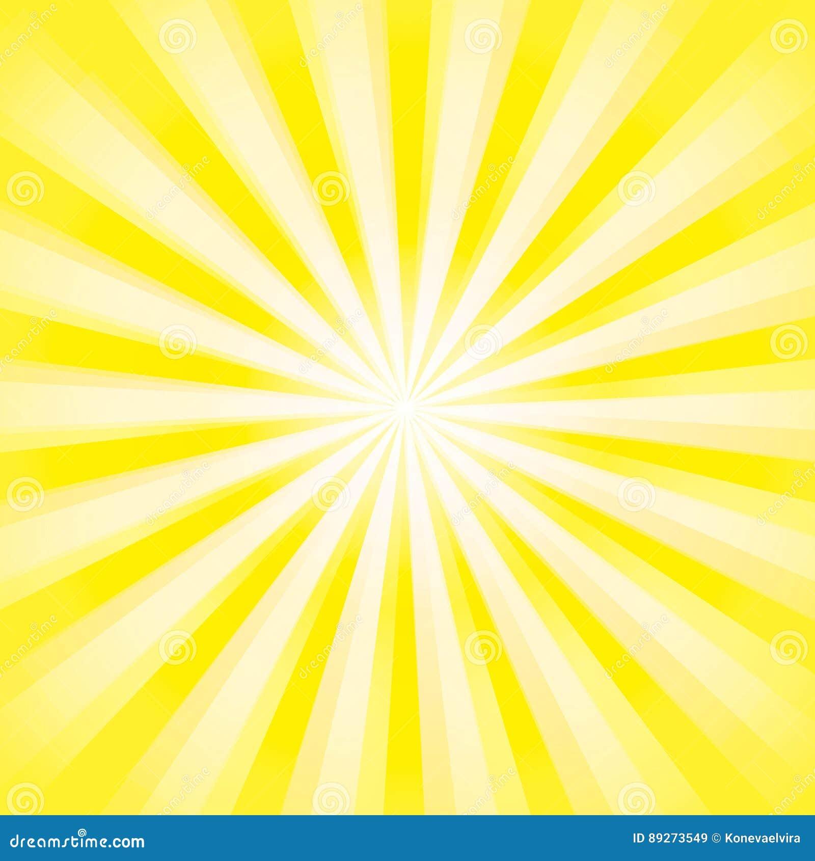 De glanzende achtergrond van de zonstraal Het Patroon van de zonzonnestraal de gele achtergrond van de stralenzomer zonnestralena