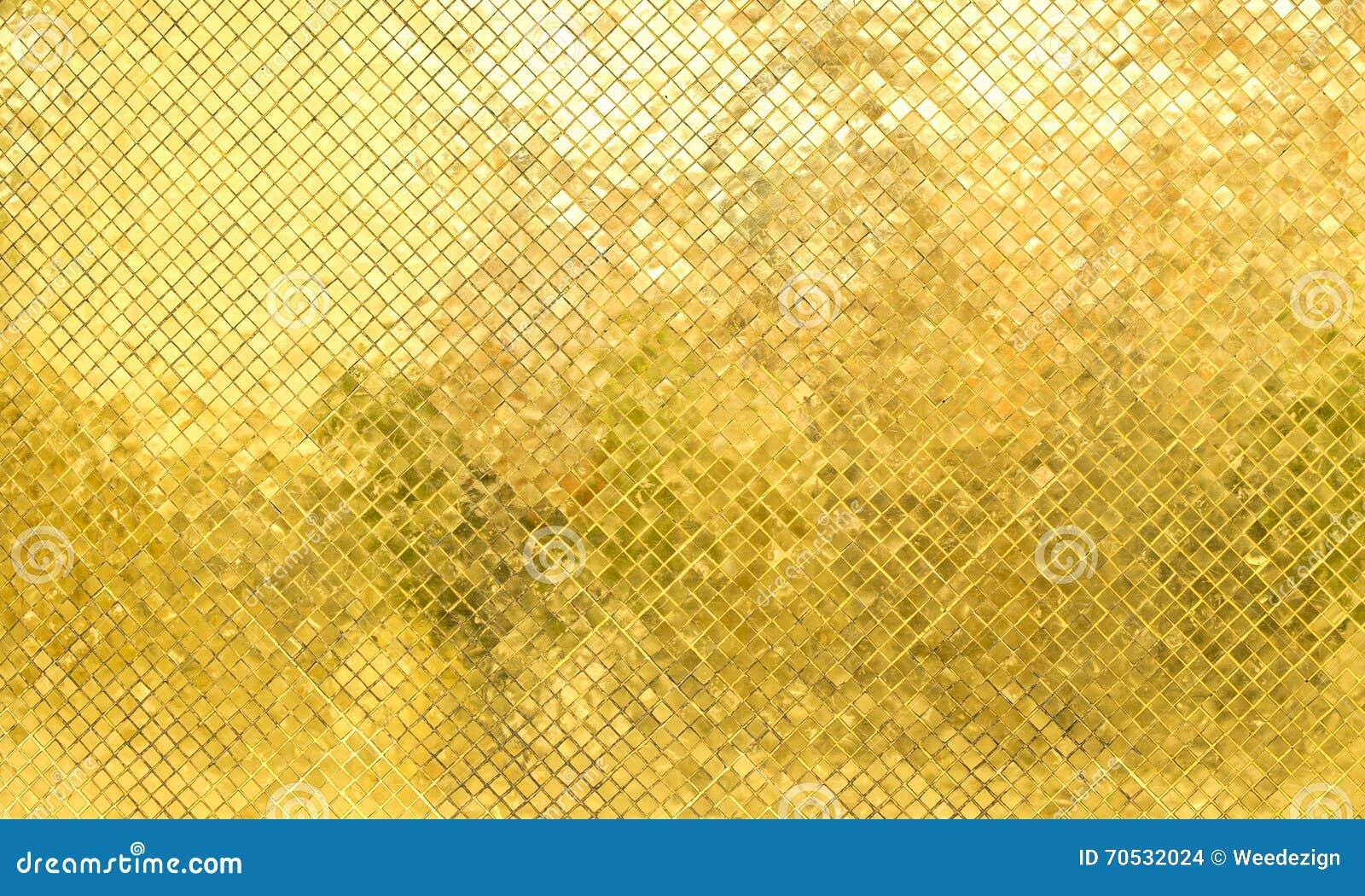 Gouden Mozaiek Tegels : De glanzende gouden muur van de mozaïektegel textuurachtergrond