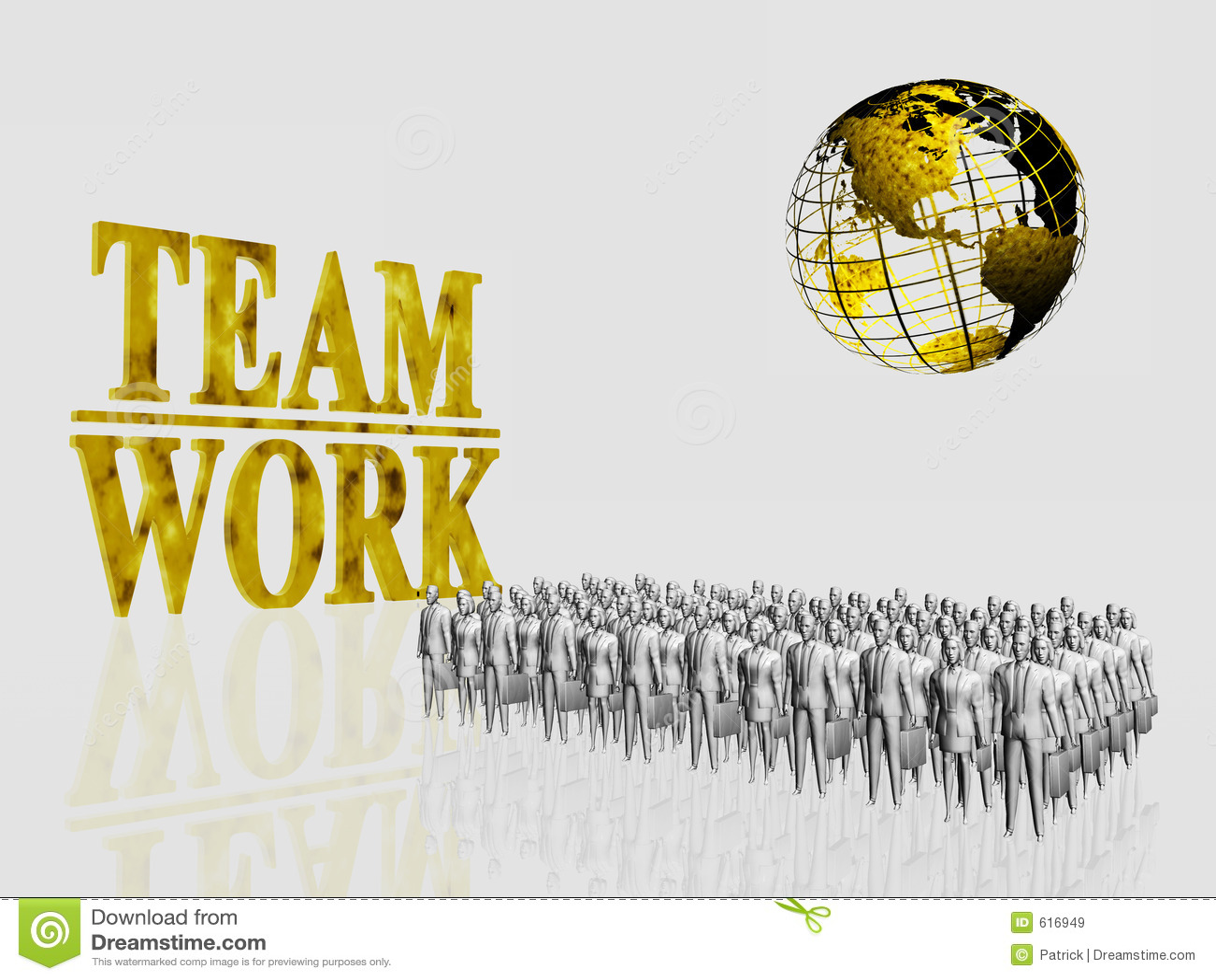 De globale Arbeiders van het Team.