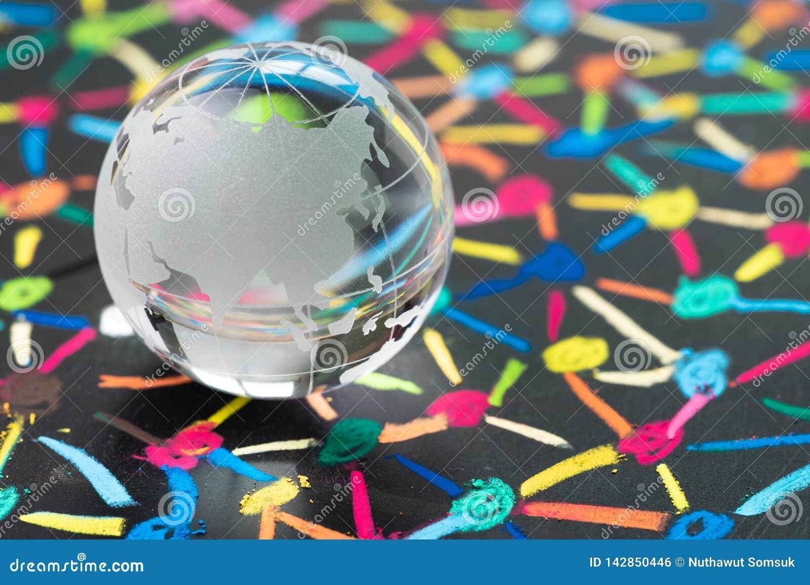 De globalisering, het sociale netwerk of connectiviteitswereldconcept, kleine decoratiebol met China en Azië brengt op kleurrijke