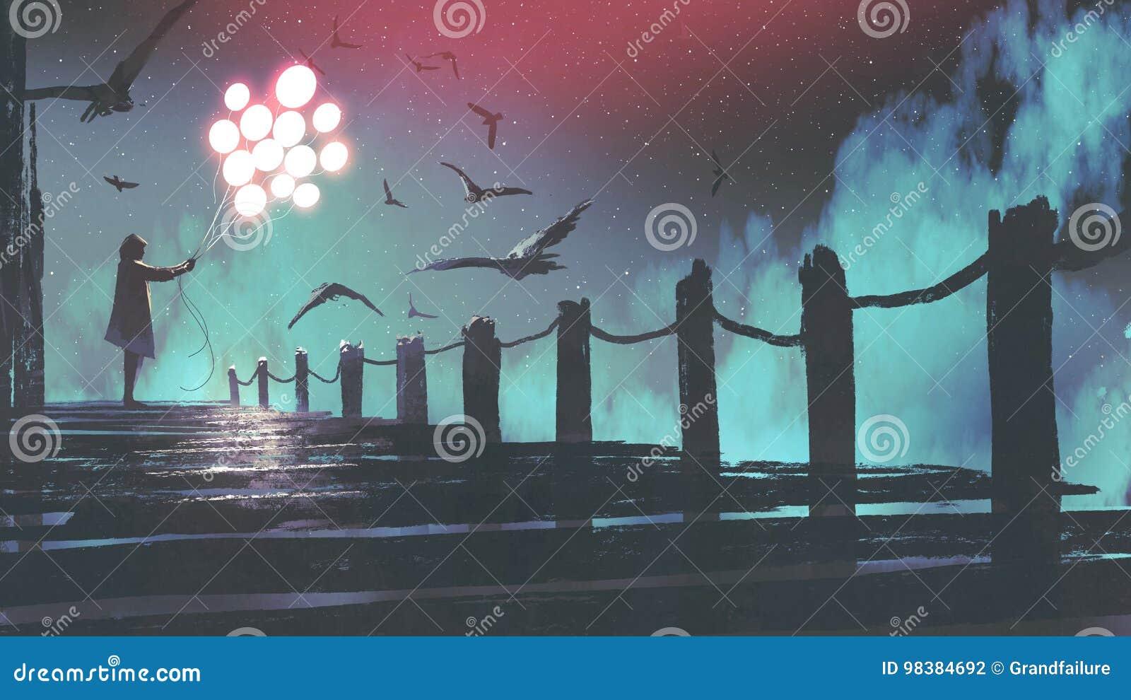 De gloeiende ballon die van de vrouwenholding zich op de brug bevinden